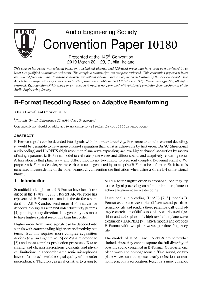 AES E-Library » B-Format Decoding Based on Adaptive Beamforming