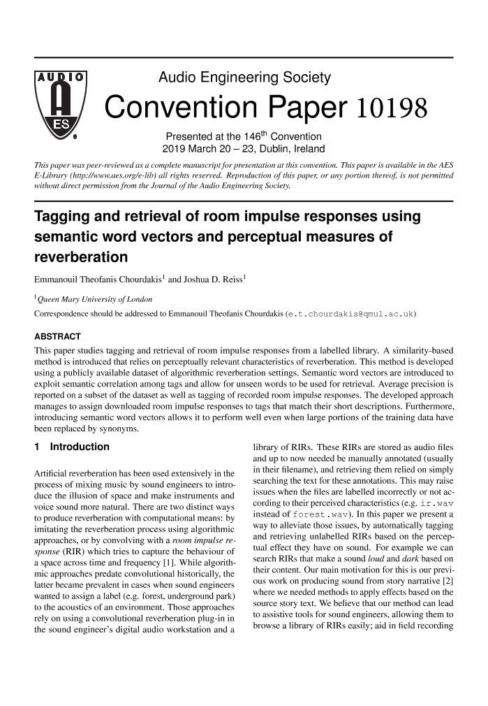 AES E-Library » Tagging and Retrieval of Room Impulse