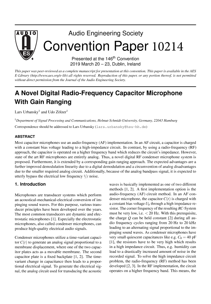 AES E-Library » A Novel Digital Radio-Frequency Capacitor