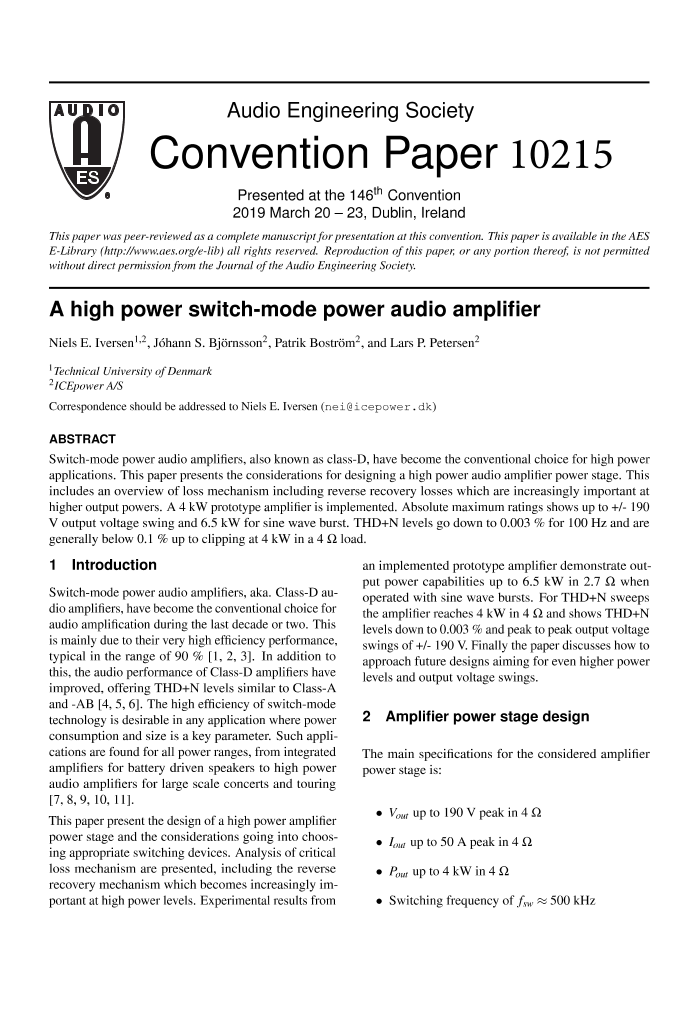 AES E-Library » A High Power Switch-Mode Power Audio Amplifier