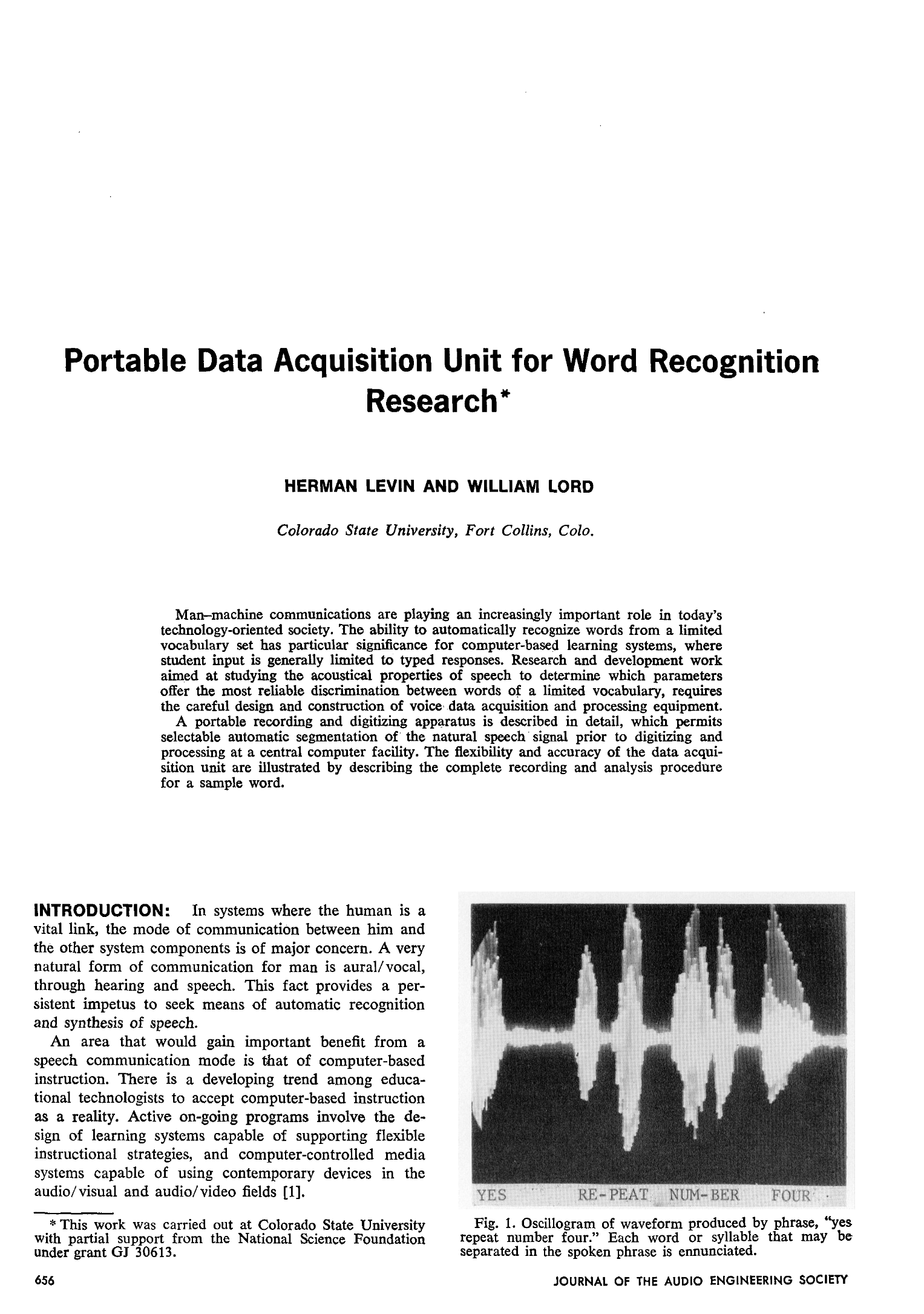 Aes E Library Portable Data Acquisition Unit For Word Recognition Circuit Diagram Dc Motor Control By A Collins Research
