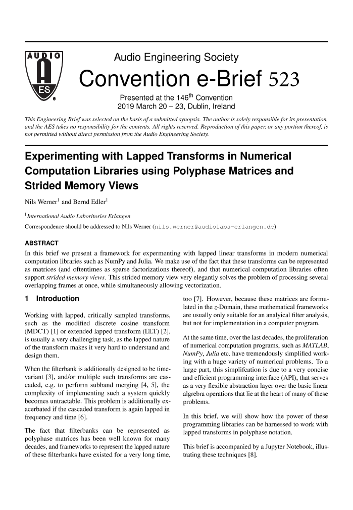 AES E-Library » Experimenting with Lapped Transforms in