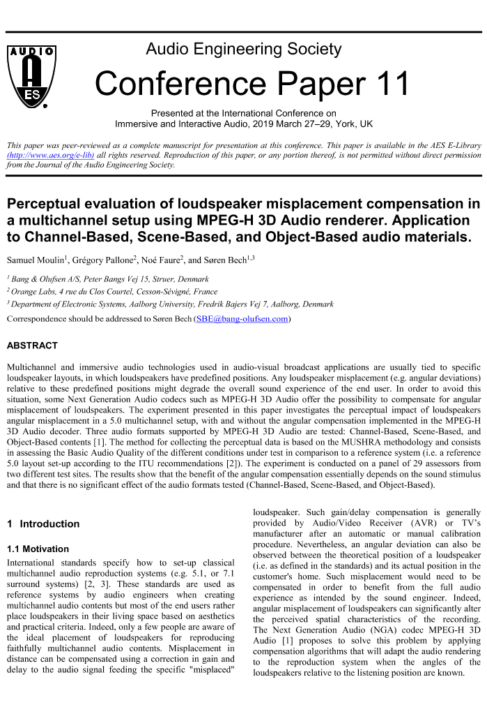 AES E-Library » Perceptual Evaluation of Loudspeaker Misplacement