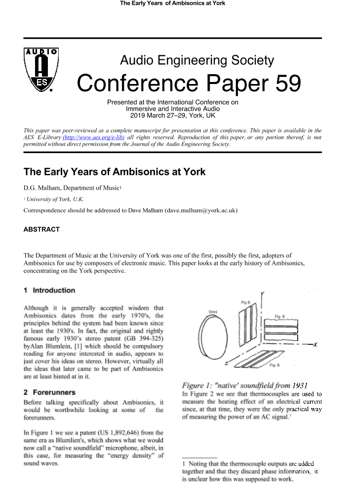 AES E-Library » The Early Years of Ambisonics at York