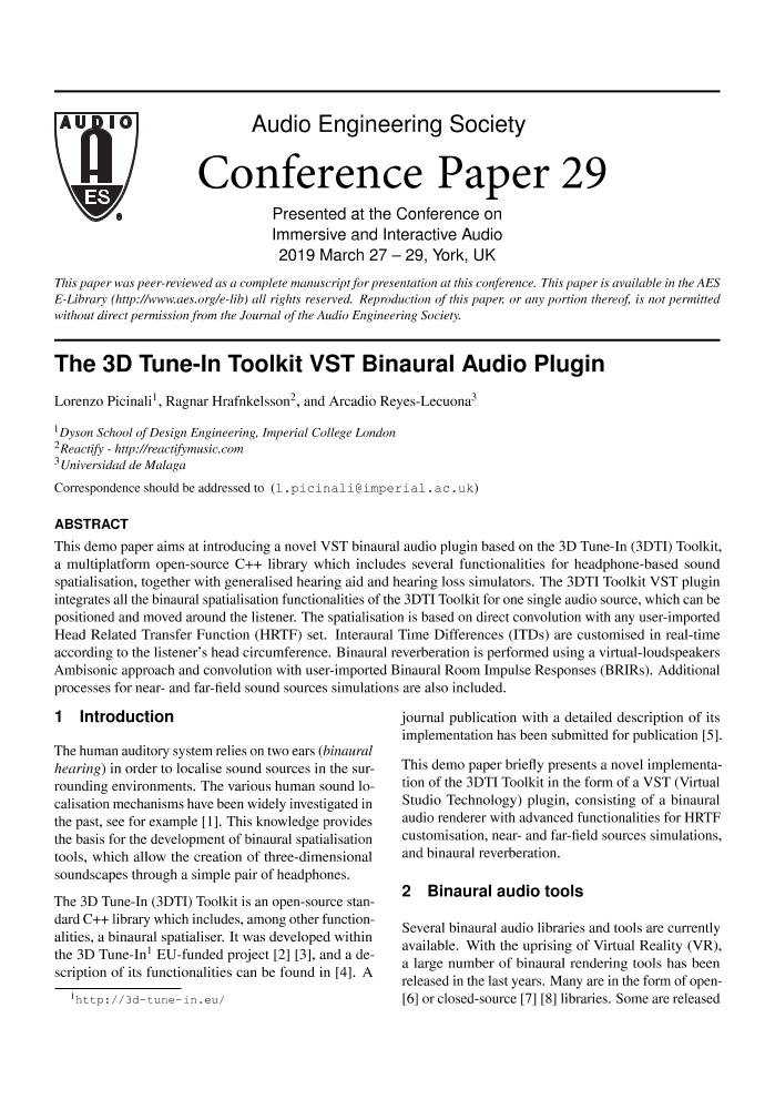 AES E-Library » The 3D Tune-In Toolkit VST Binaural Audio Plugin