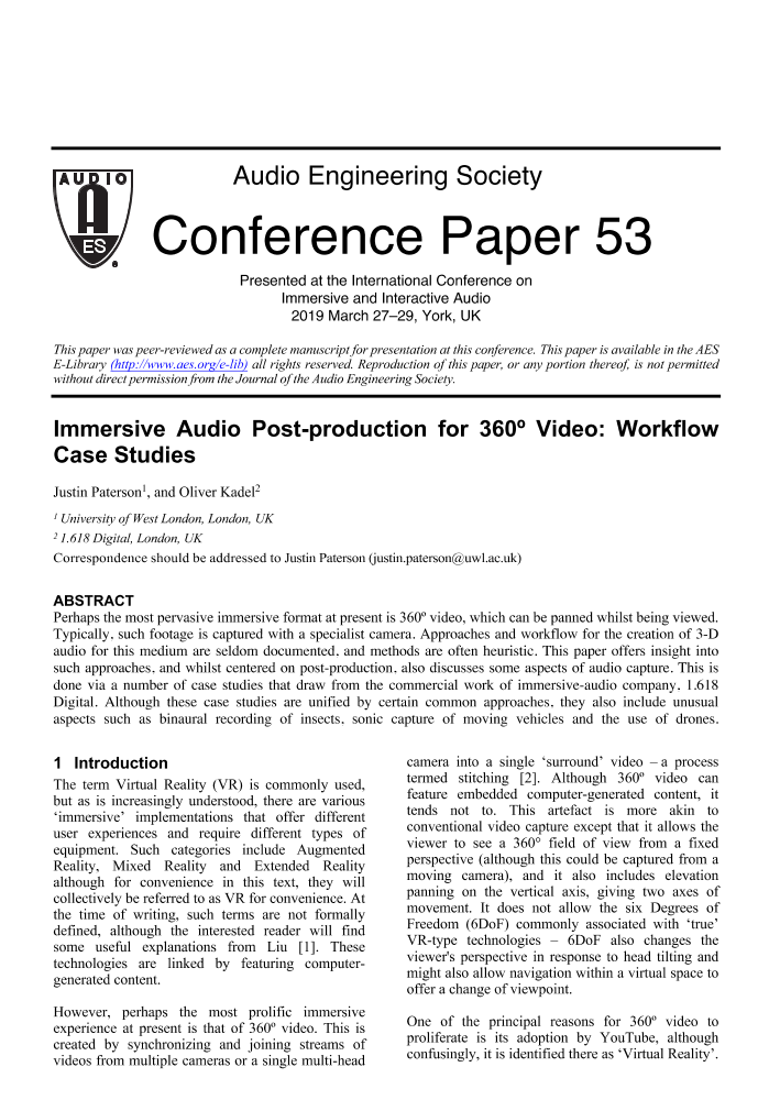 AES E-Library » Immersive Audio Post-Production for 360
