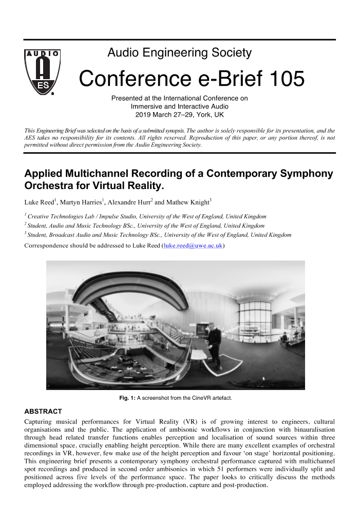 AES E-Library » Applied Multichannel Recording of a