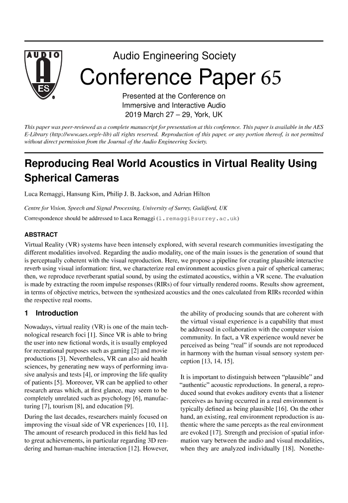 AES E-Library » Reproducing Real World Acoustics in Virtual