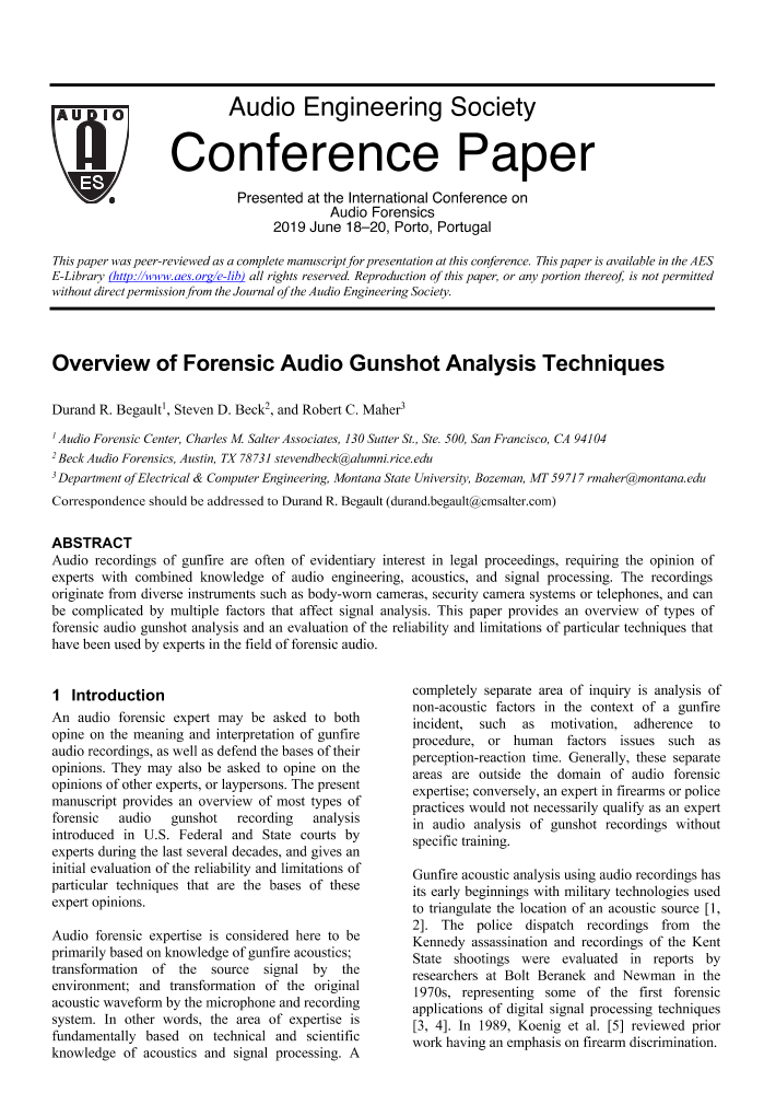 Aes E Library Overview Of Forensic Audio Gunshot Analysis Techniques