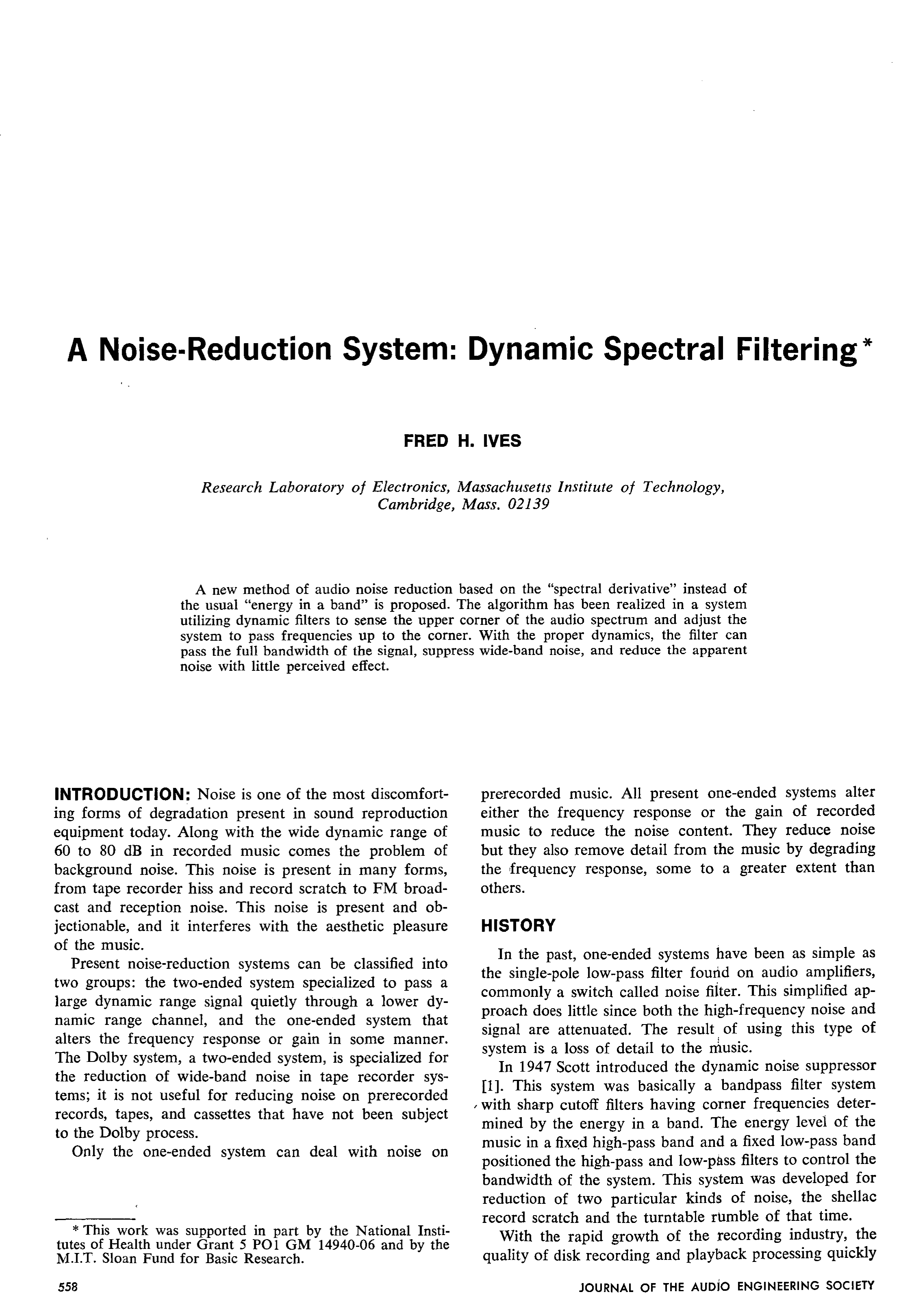 Aes E Library A Noise Reduction System Dynamic Spectral Filtering Audio Hiss Filter Circuit