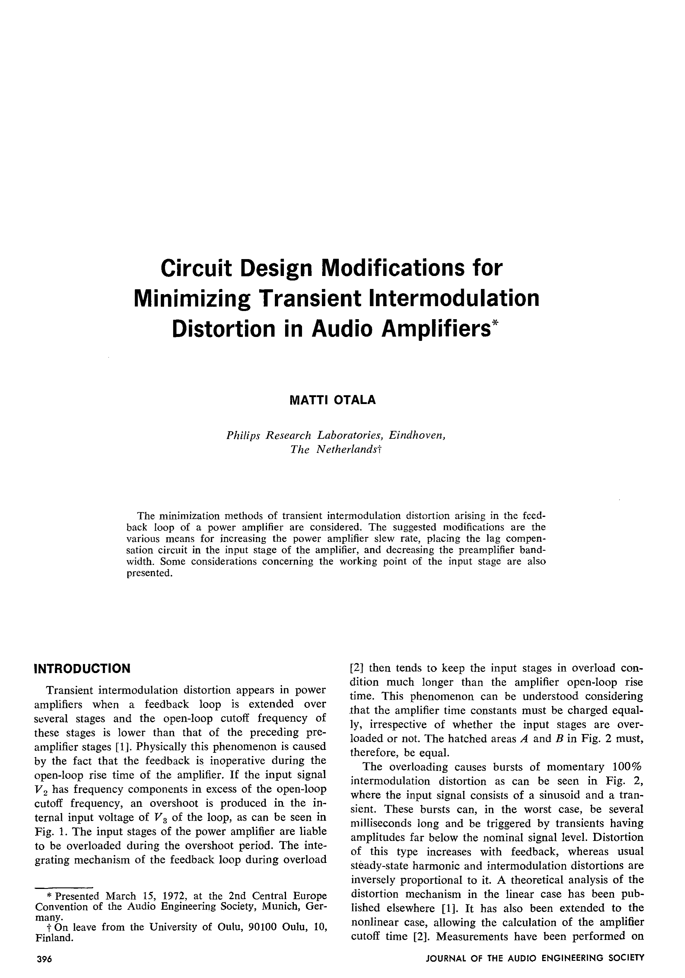 Aes E Library Circuit Design Modifications For Minimizing The Transformerless Mains High Low Voltage Cut Off Version Of Transient Intermodulation Distortion In Audio Amplifiers
