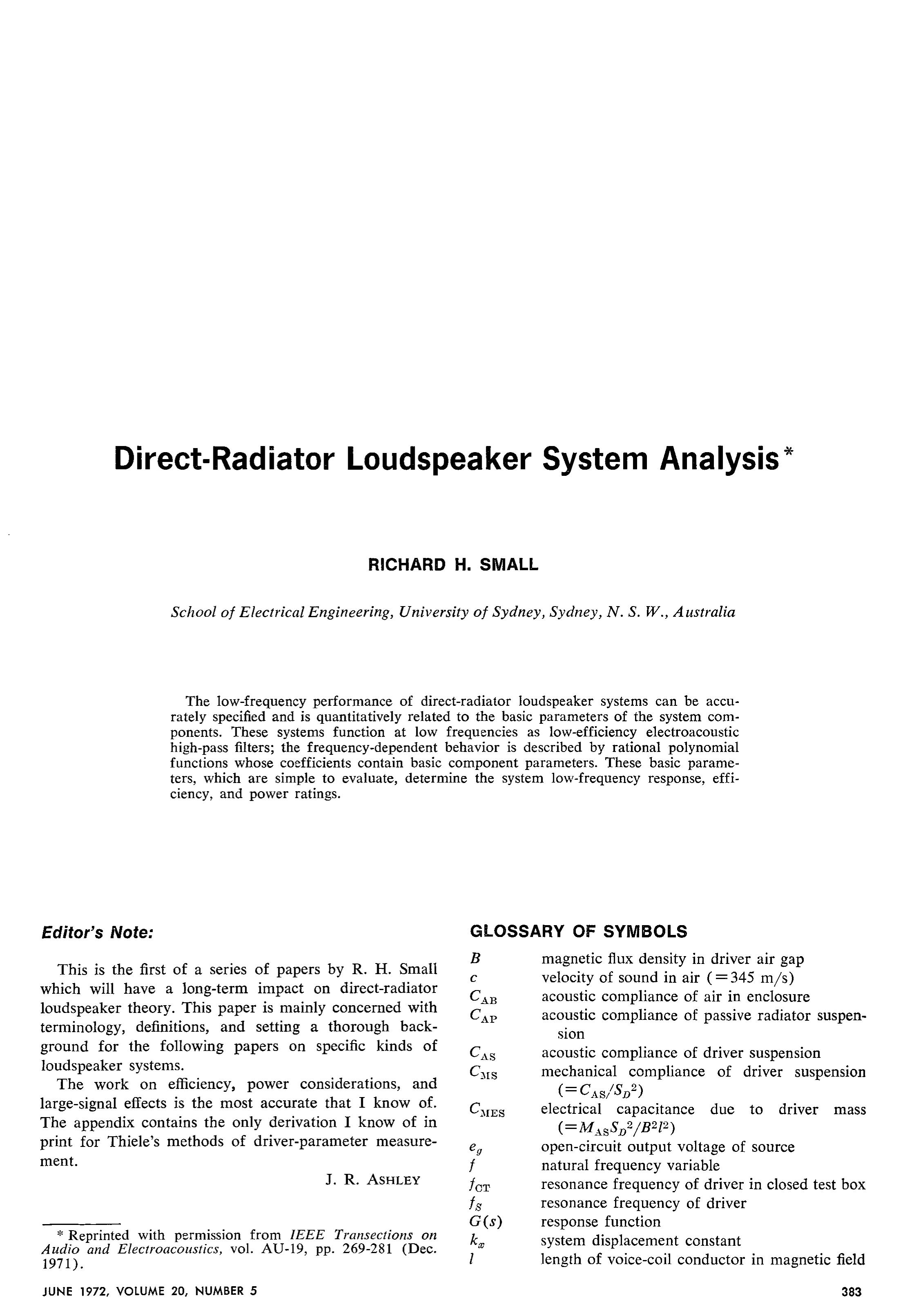 AES E Library Direct Radiator Loudspeaker System Analysis
