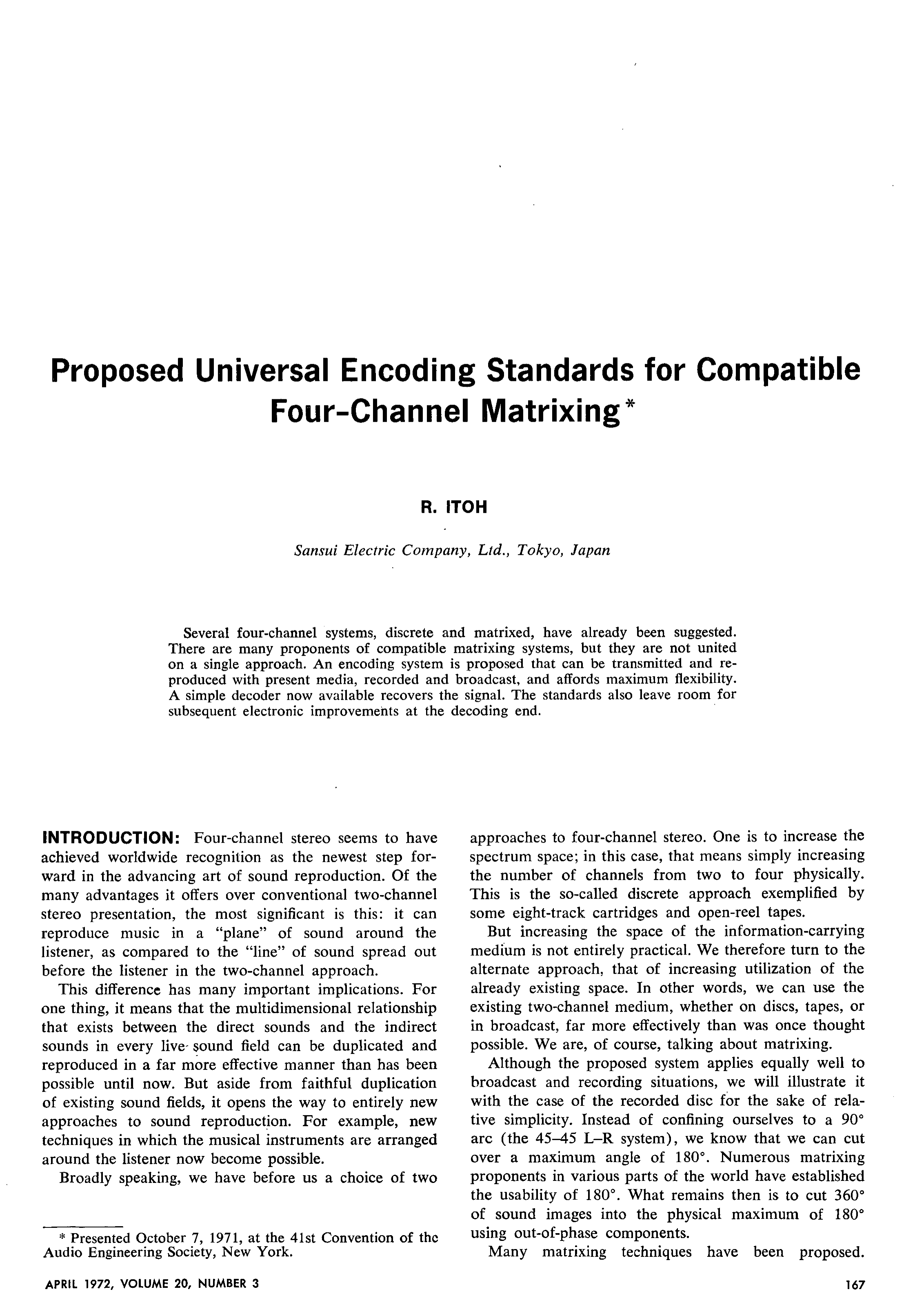Aes E Library Proposed Universal Encoding Standards For Compatible Universals Rear Axle Available Part Diagrams 10 In Front Suspension Four Channel Matrixing