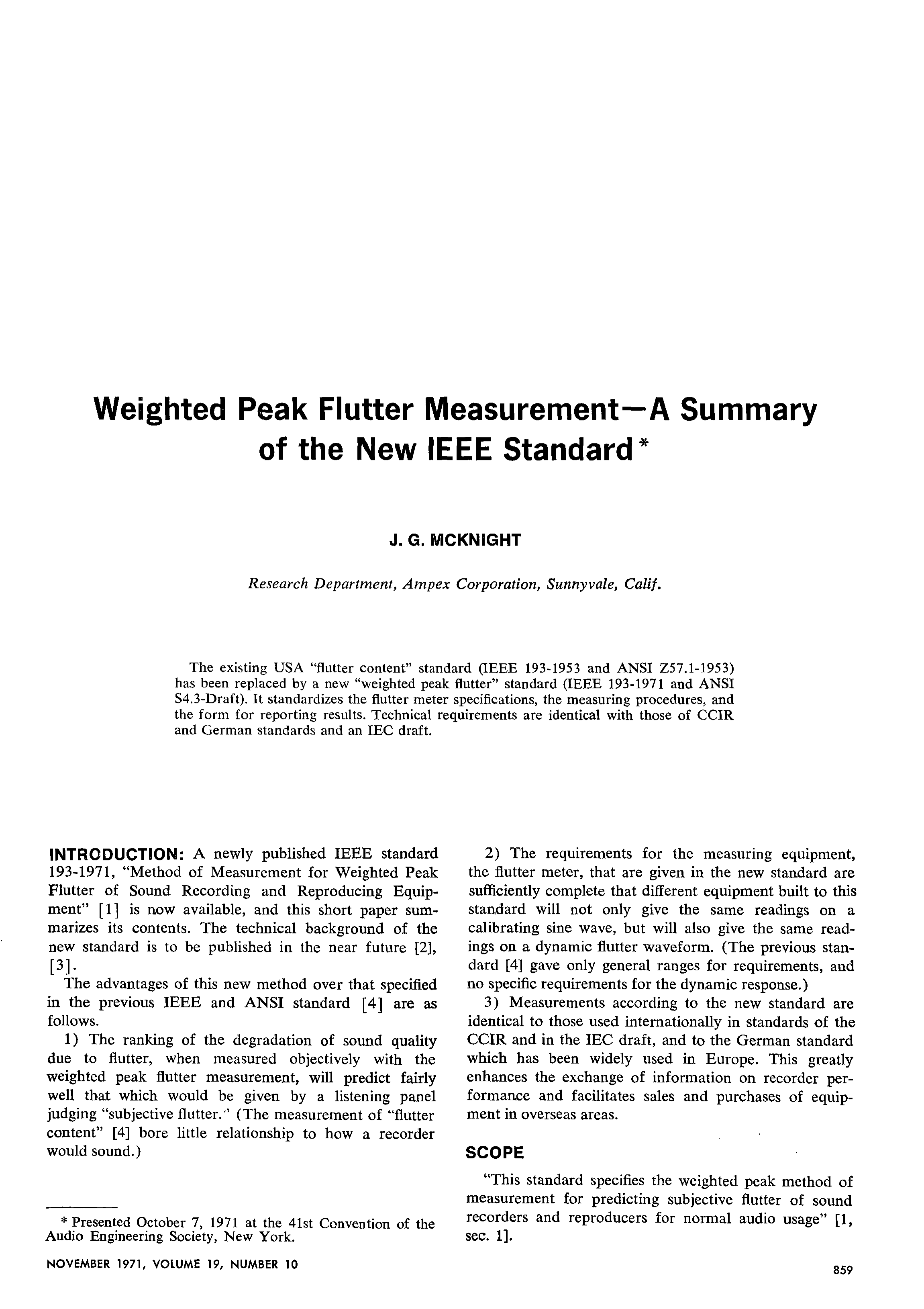 Aes e library weighted peak flutter measurement a summary of the aes e library weighted peak flutter measurement a summary of the new ieee standard falaconquin