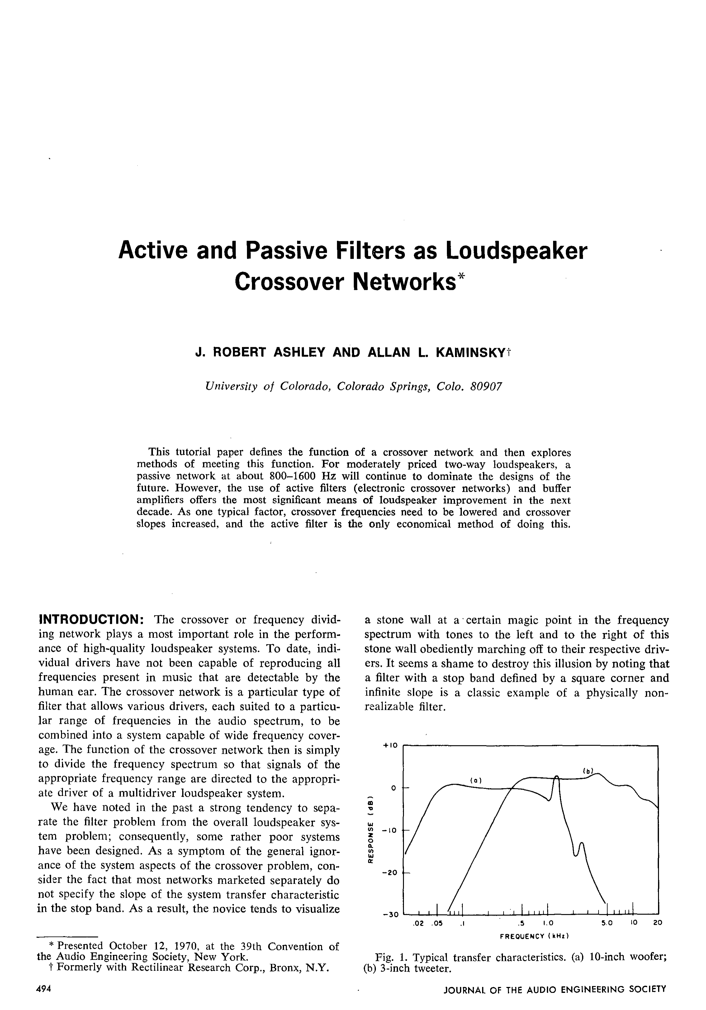Aes E Library Active And Passive Filters As Loudspeaker Crossover Speaker Circuit Diagram In Addition Networks