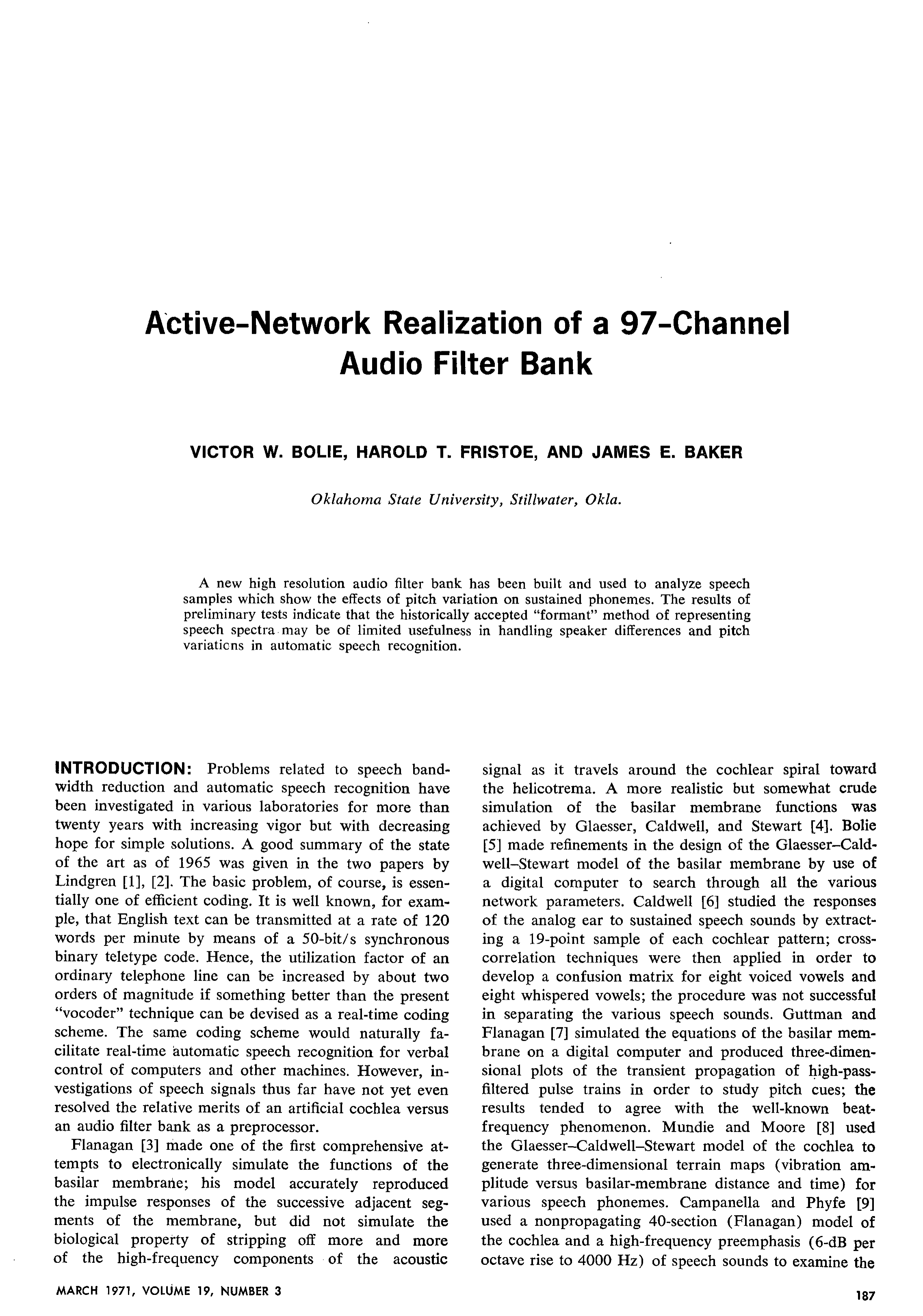 Aes E Library Active Network Realization Of A 97 Channel Audio Or Frequency Selectivity Lc Networks Resonant Tank Circuits Filter Bank