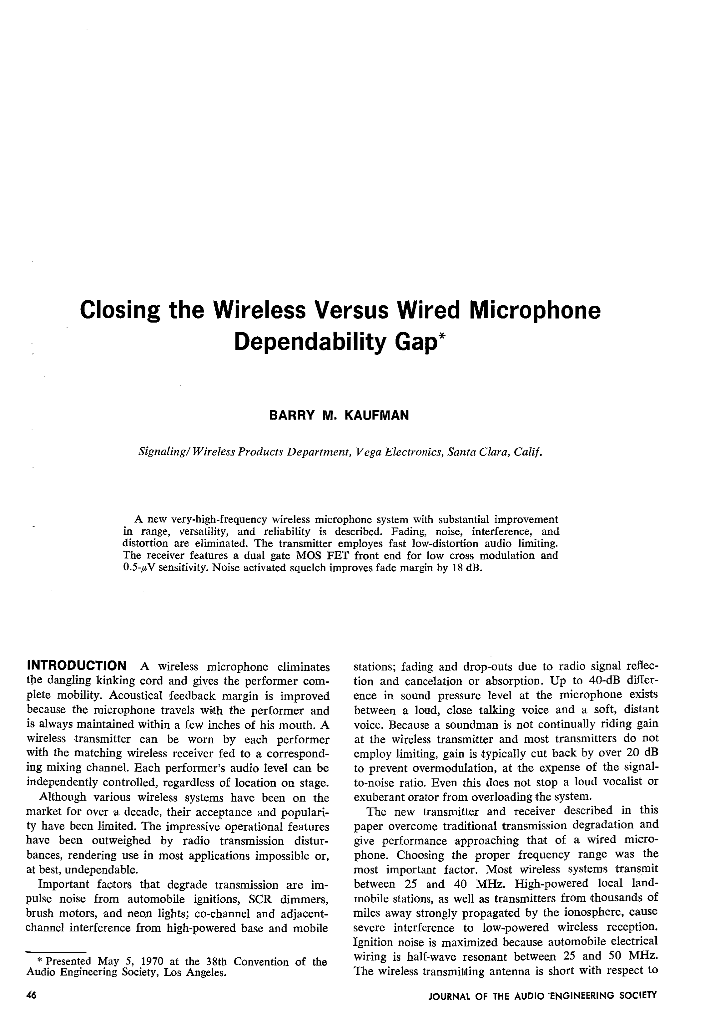 Figs 1and 2 Shows Transmitter And Receiver Circuit Respectivelythe Aes E Library Closing The Wireless Versus Wired Microphone Dependability Gap
