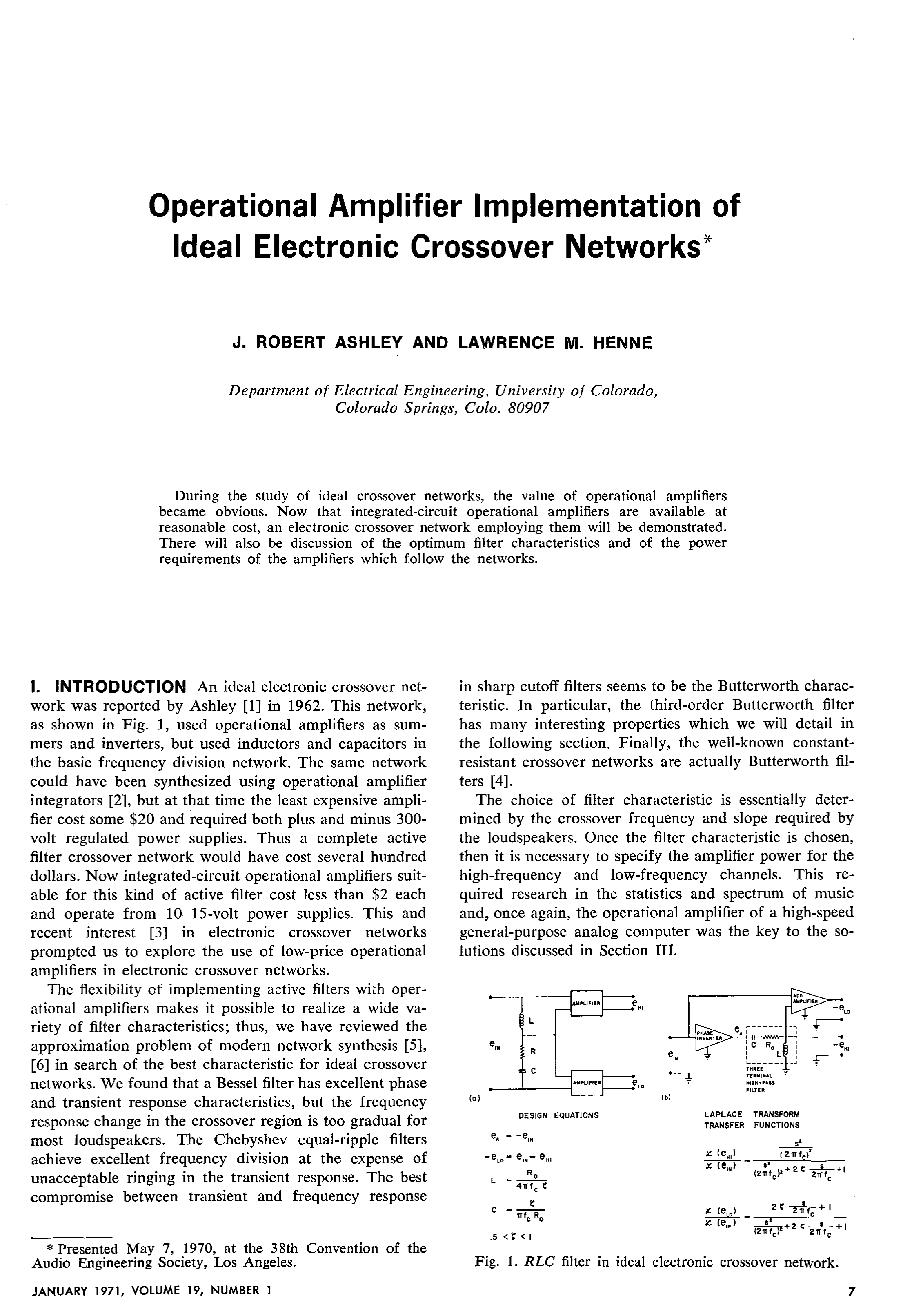 Aes E Library Operational Amplifier Implementation Of Ideal Functions Integrated Circuit Electronic Crossover Networks