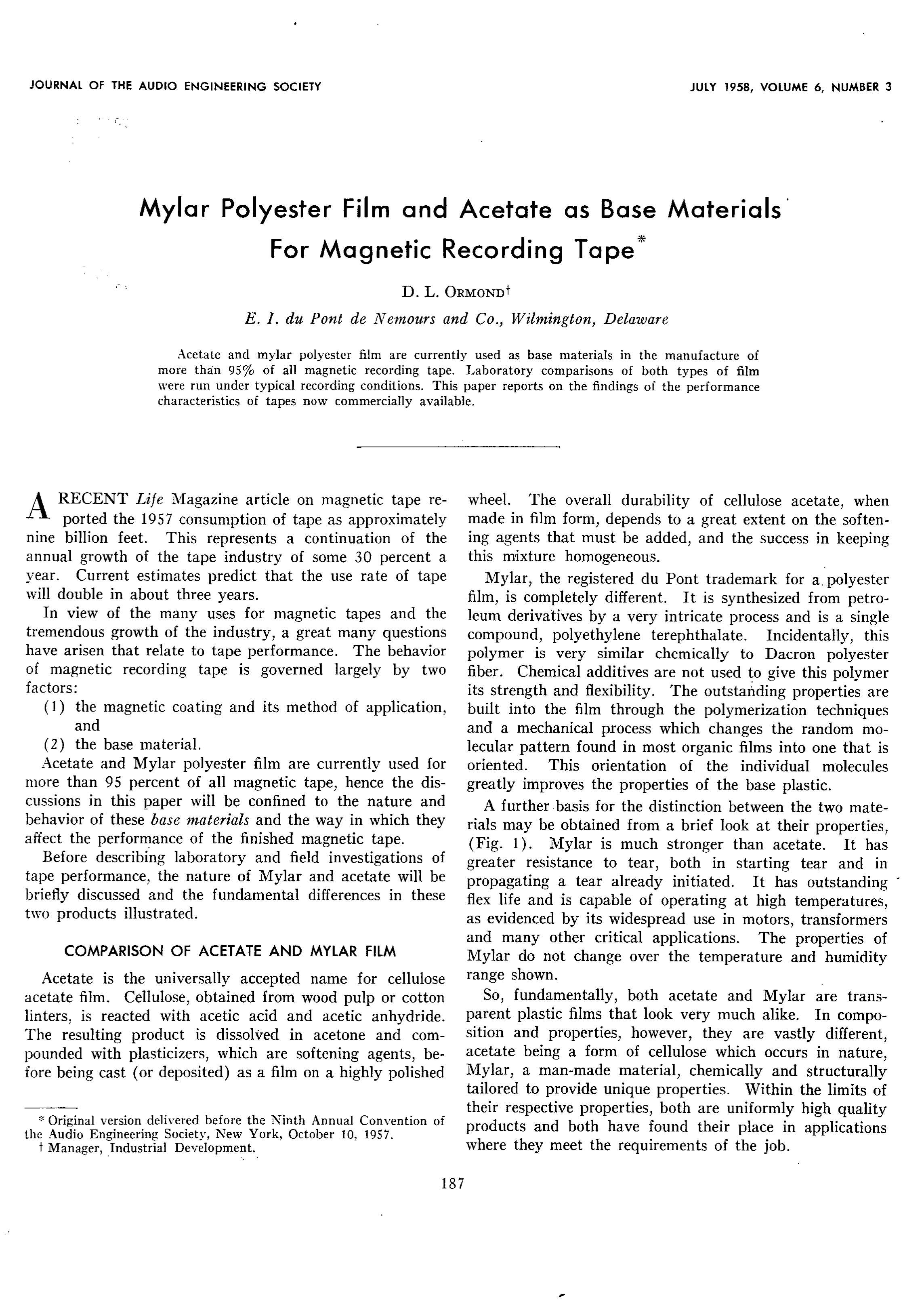 AES E-Library » Mylar Polyester Film and Acetate as Base Materials