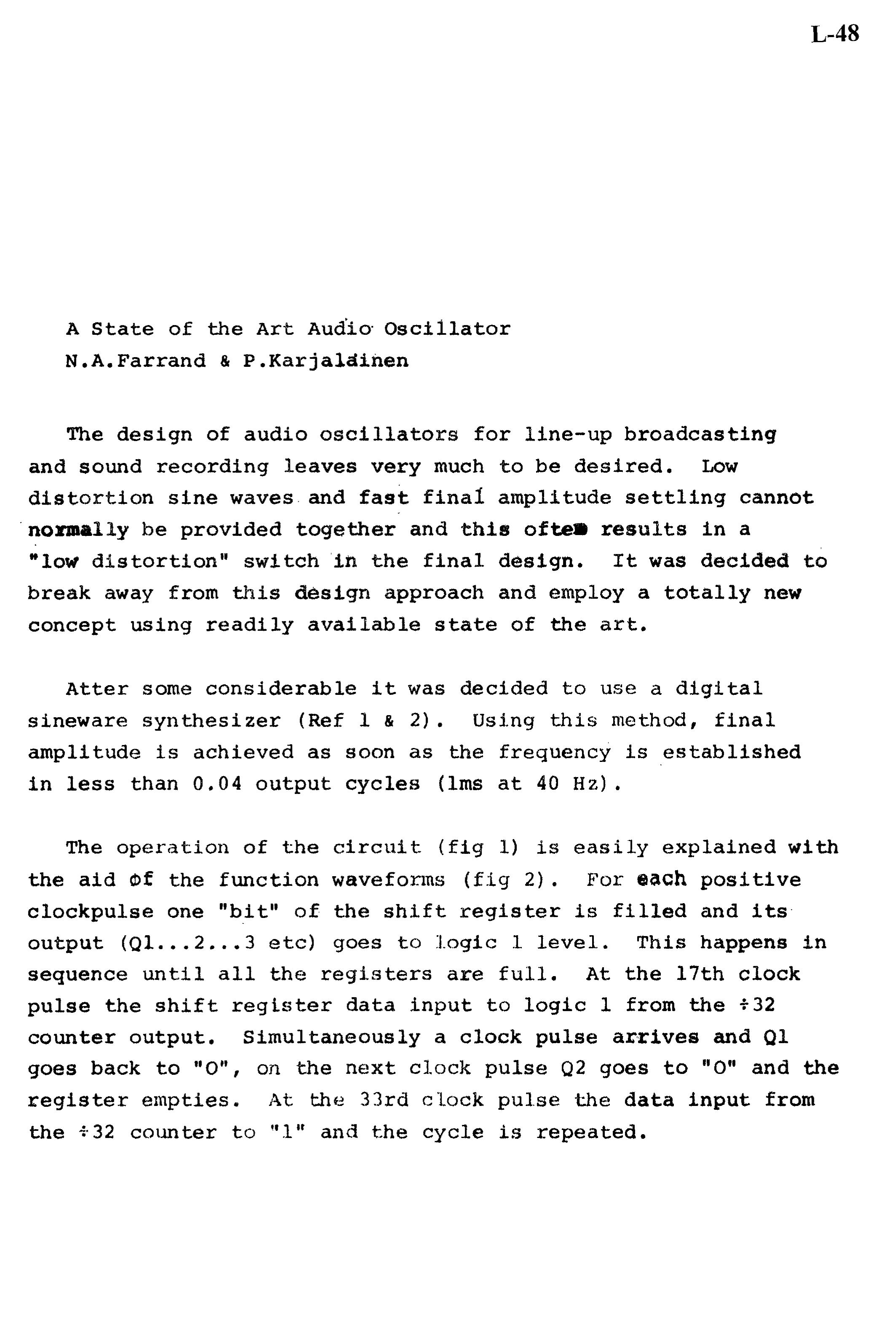 Aes E Library A State Of The Art Audio Oscillator Oscillators