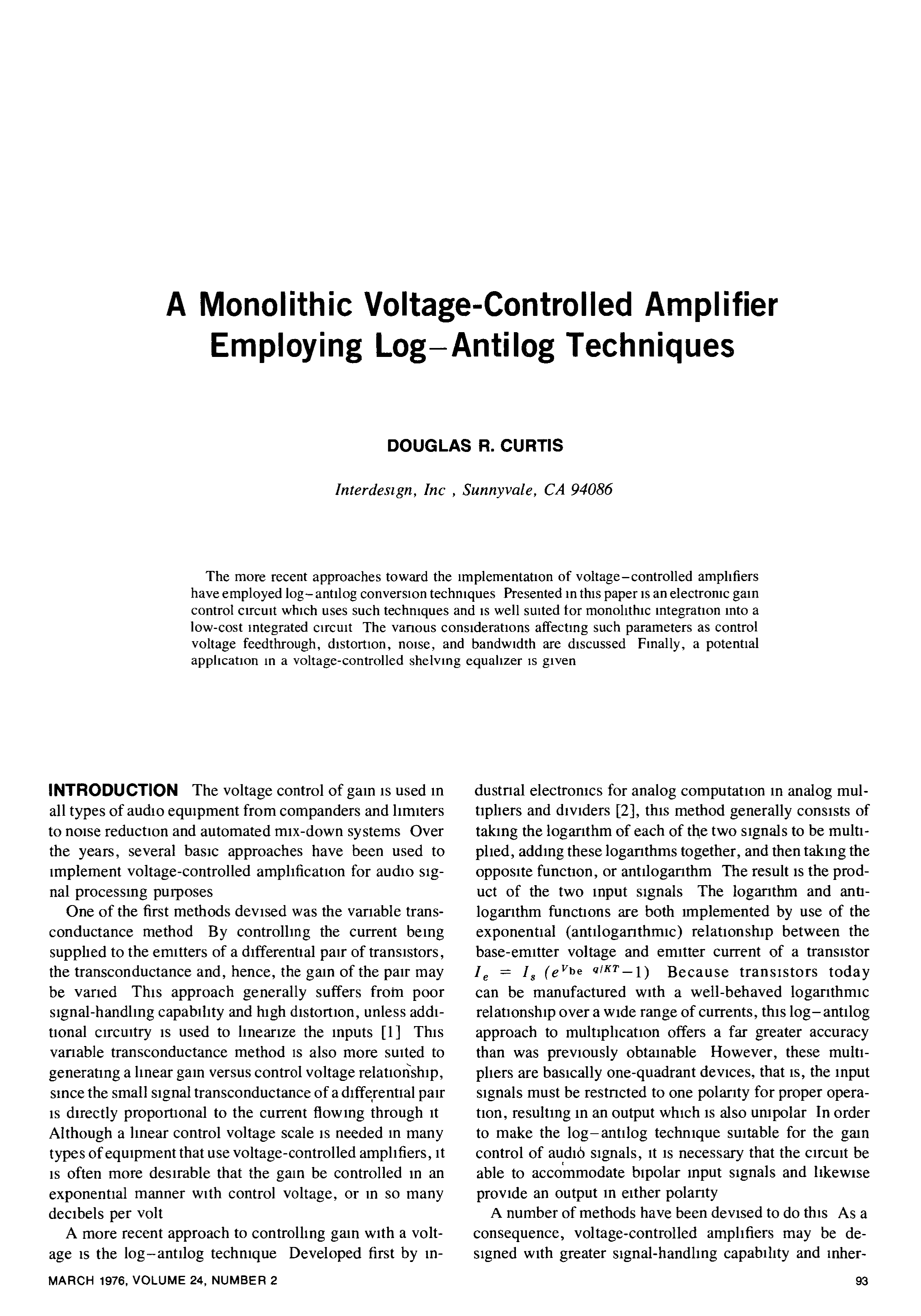 Aes E Library A Monolithic Voltage Controlled Amplifier Employing What Are The Uses Of Integrated Circuits With Pictures Log Antilog Techniques