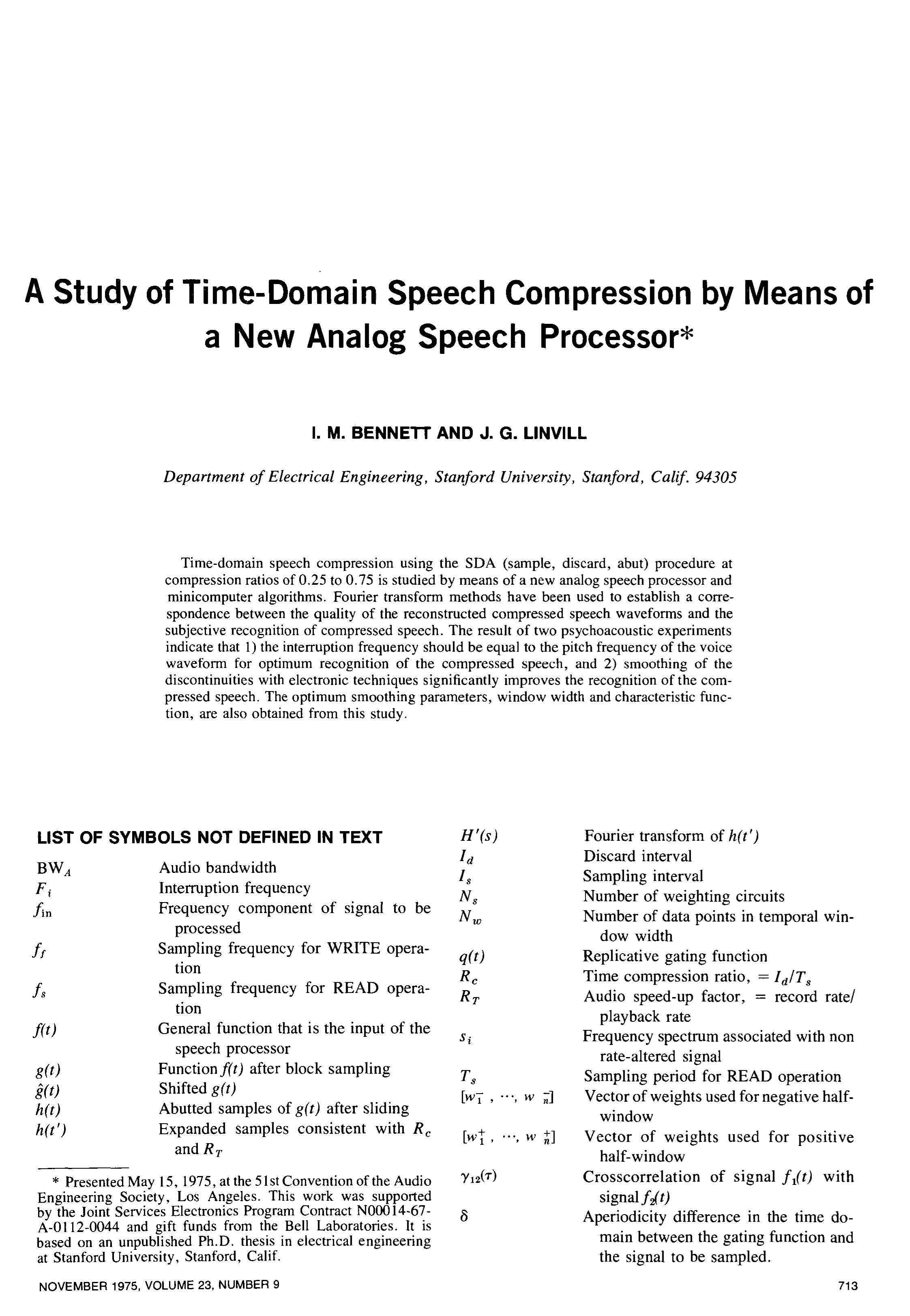 Aes E Library A Study Of Time Domain Speech Compression By Means Isis Prepared With Various Digital Analog Circuits New Processor