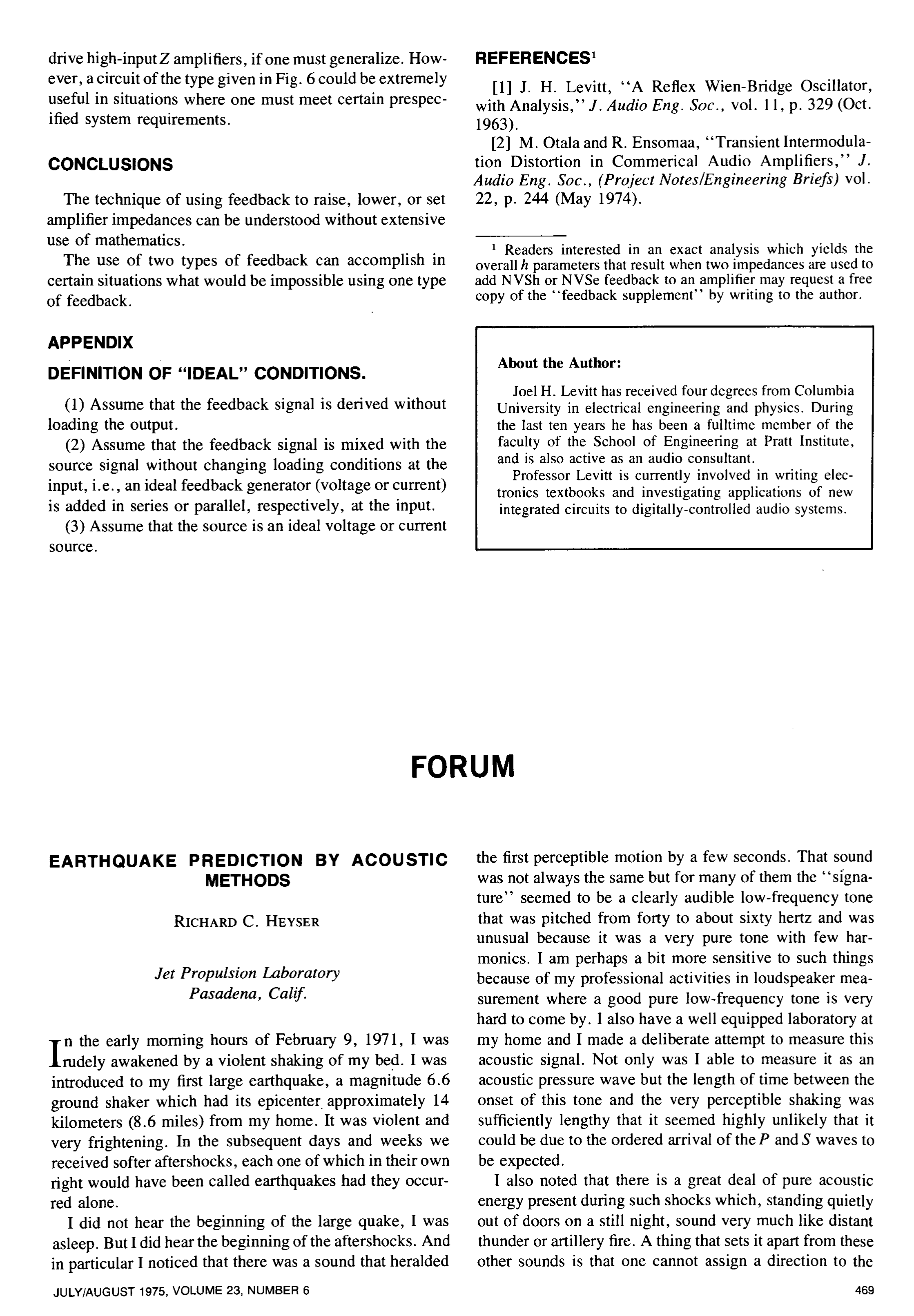 Aes E Library Earthquake Prediction By Acoustic Methods Definition Integrated Circuit