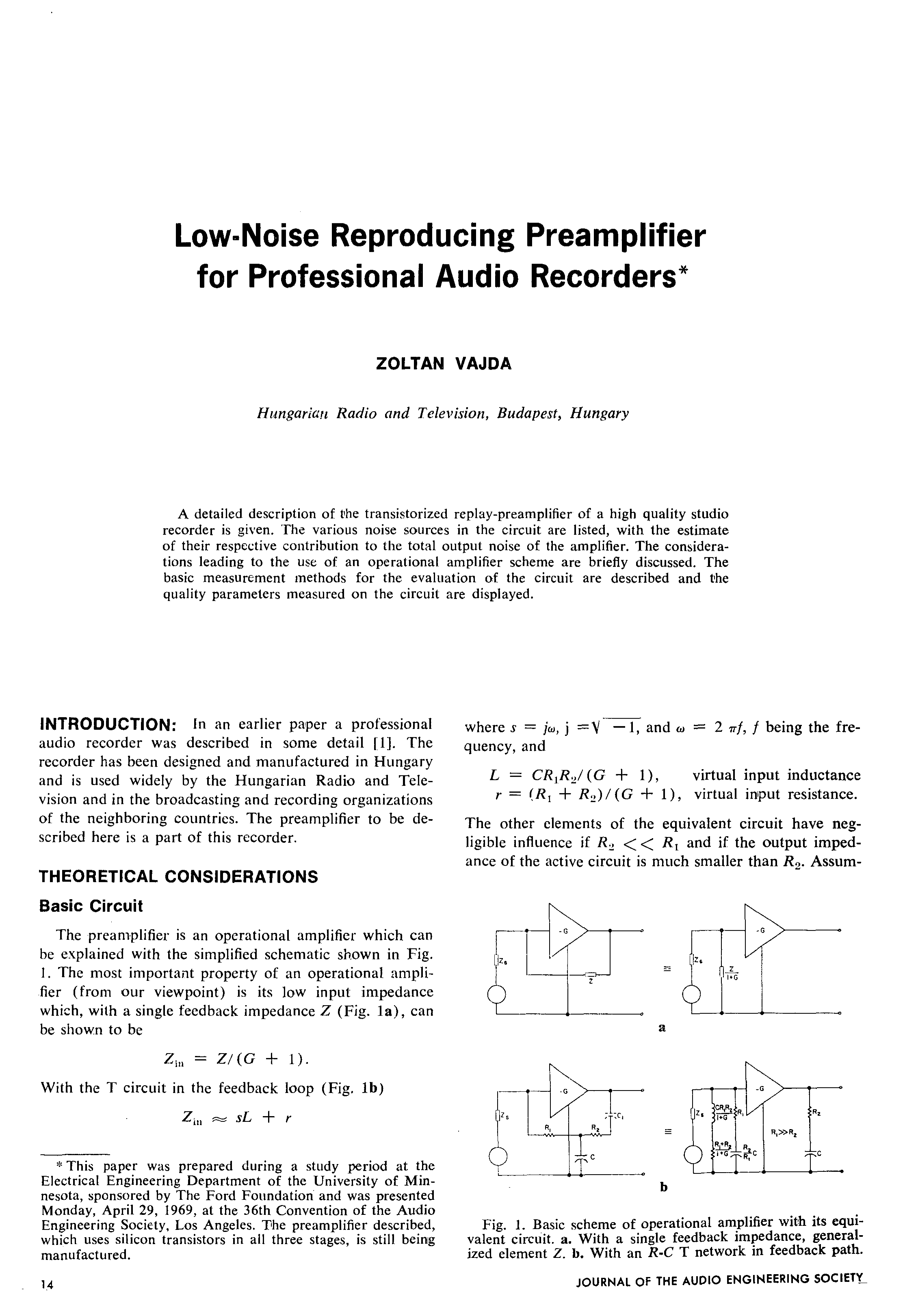 Aes E Library Low Noise Reproducing Preamplifier For Professional Equalizer Amplifier Circuit Audio Recorders