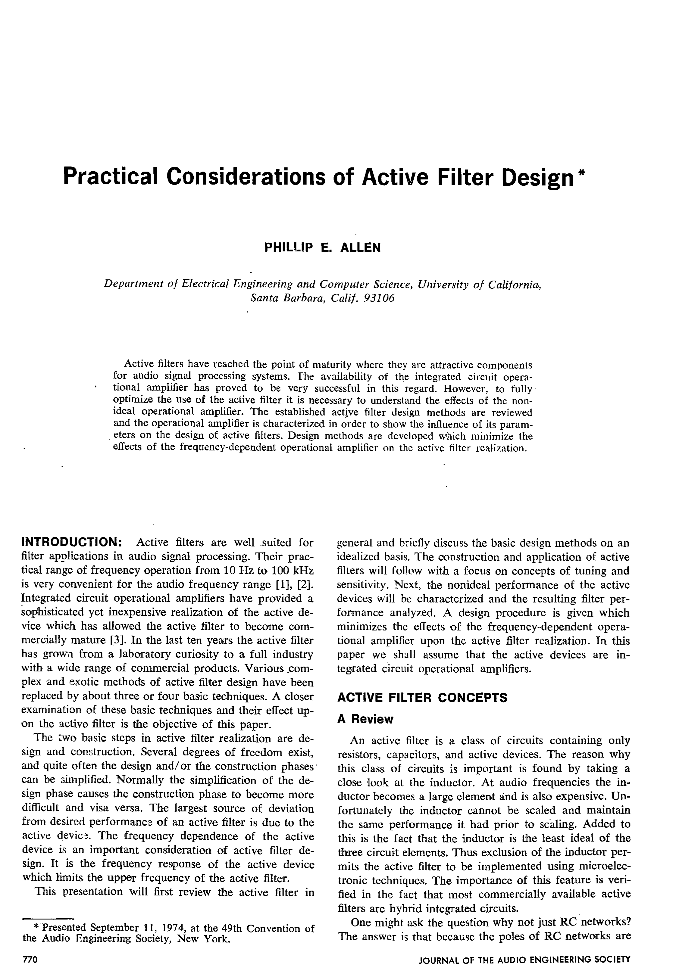 Aes E Library Practical Considerations Of Active Filter Design Monolithichybrid Analog To Digital Ad Converter