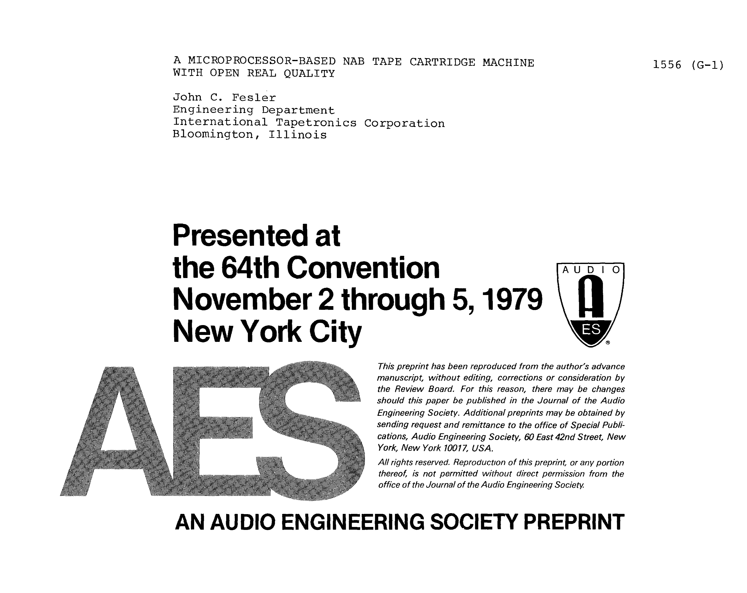 Aes E Library A Microprocessor Based Nab Tape Cartridge Machine Above Ill 1 Ac Powered Solenoid Coils Controlled By Triac In An With Open Reel Quality