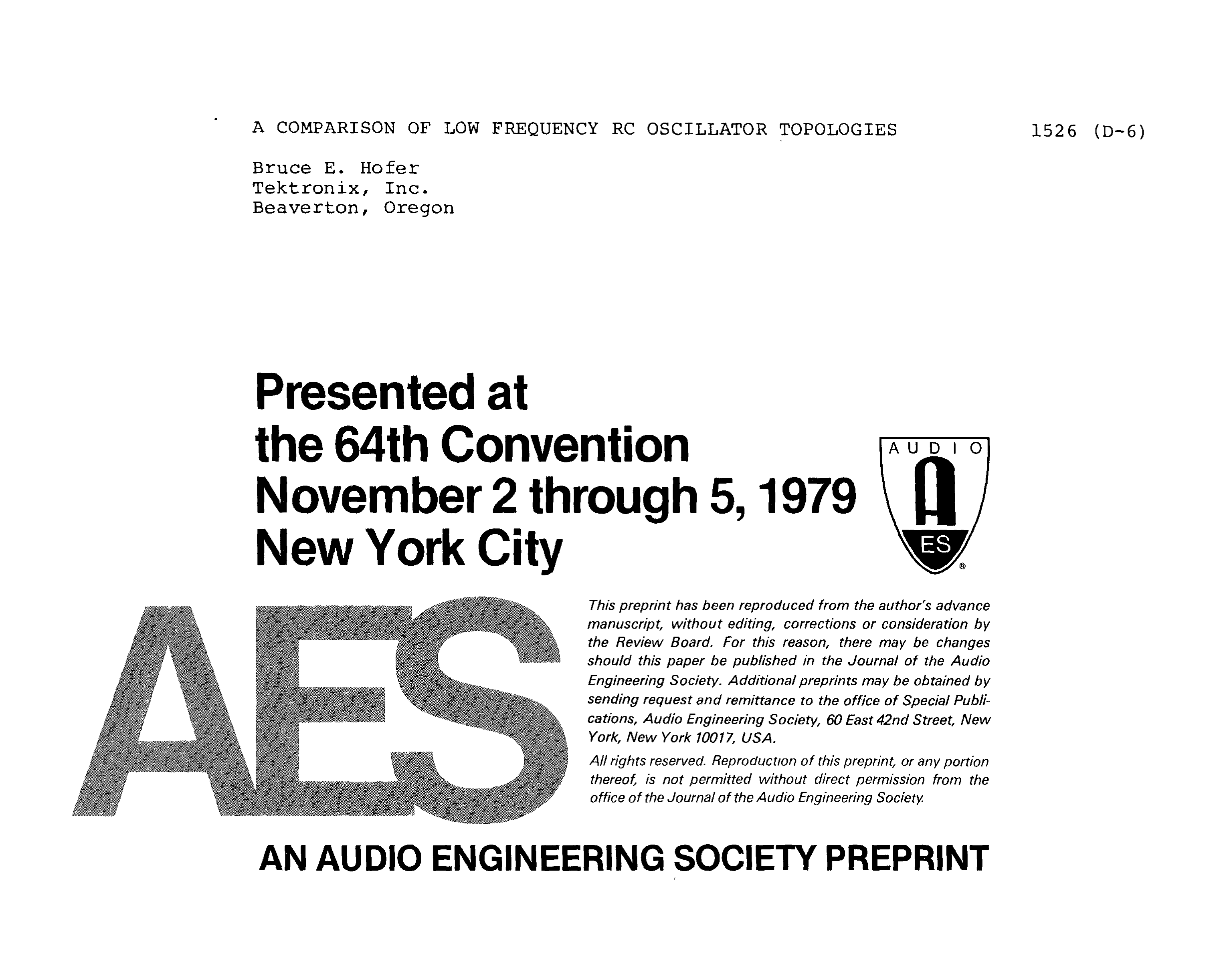 Aes E Library A Comparison Of Low Frequency Rc Oscillator Topologies Integrator Circuit
