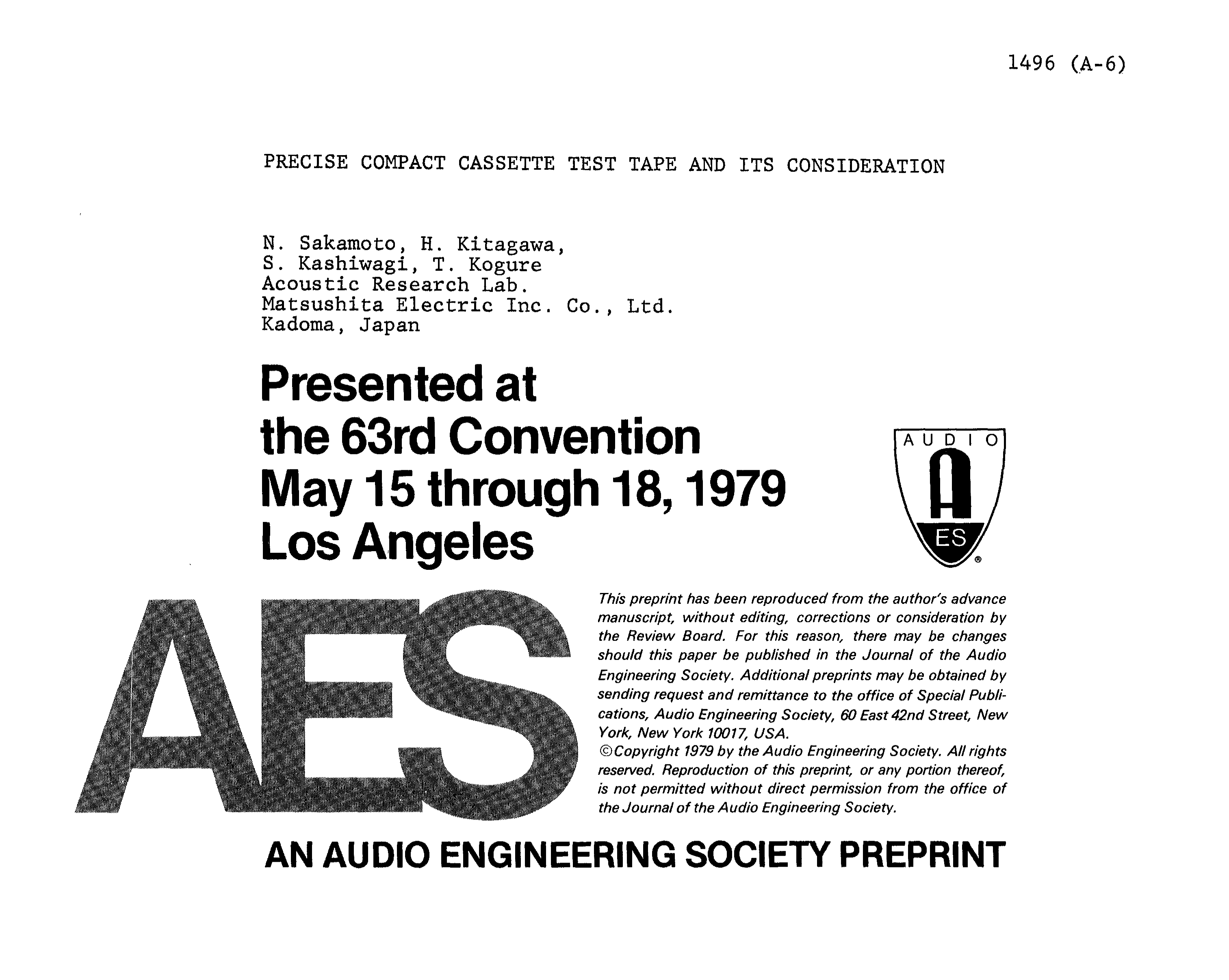 aes e library precise compact cassette test tape and its rh aes org