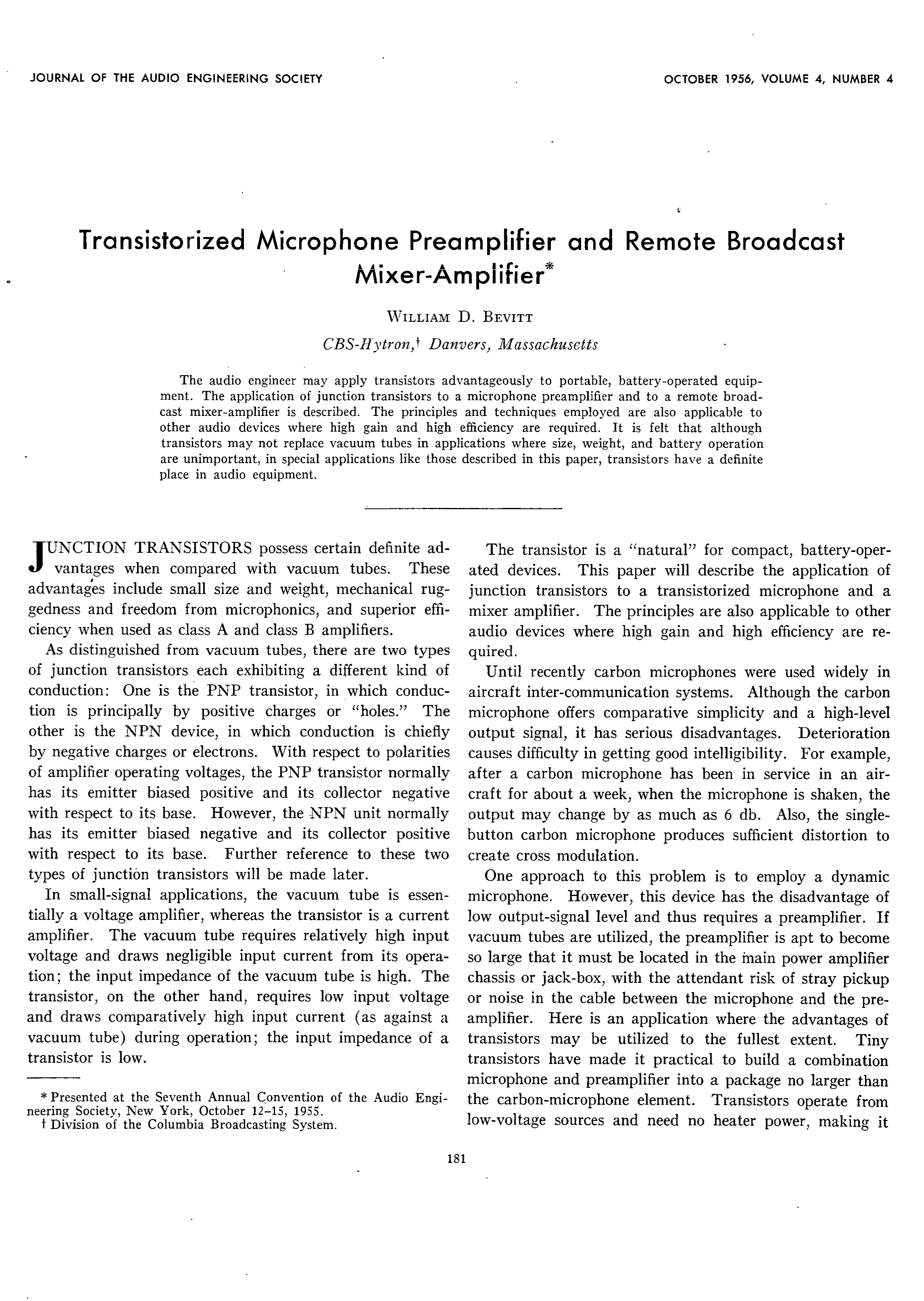 AES E-Library » Transistorized Microphone Preamplifier and Remote