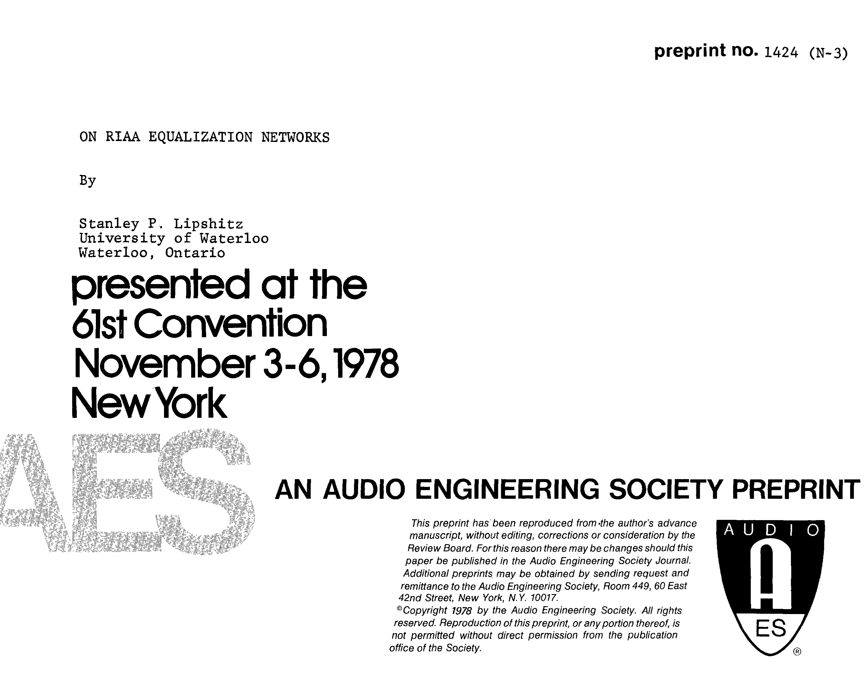 AES E-Library » On RIAA Equalization Networks