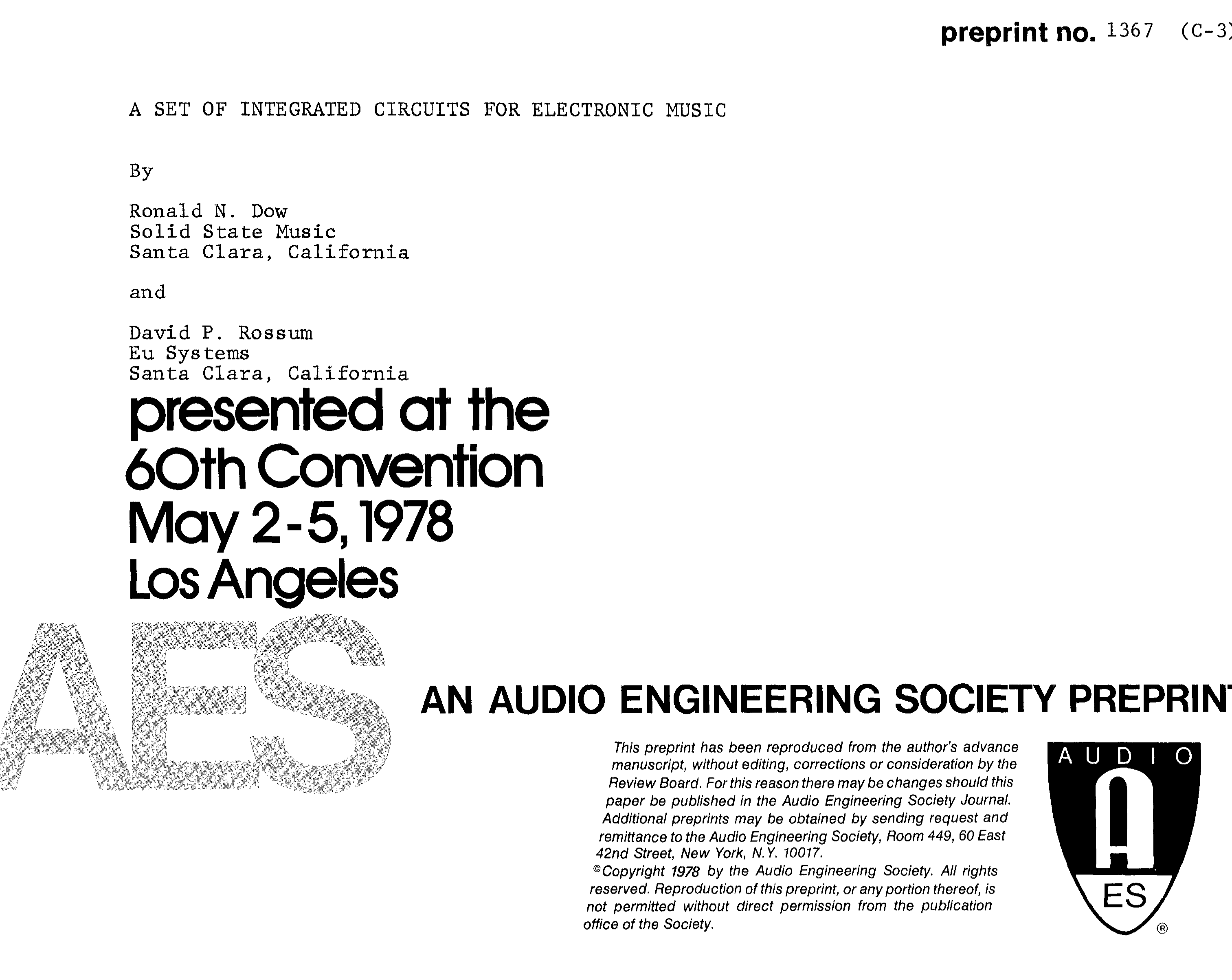 Aes E Library A Set Of Integrated Circuits For Electronic Music Image 3 Picture