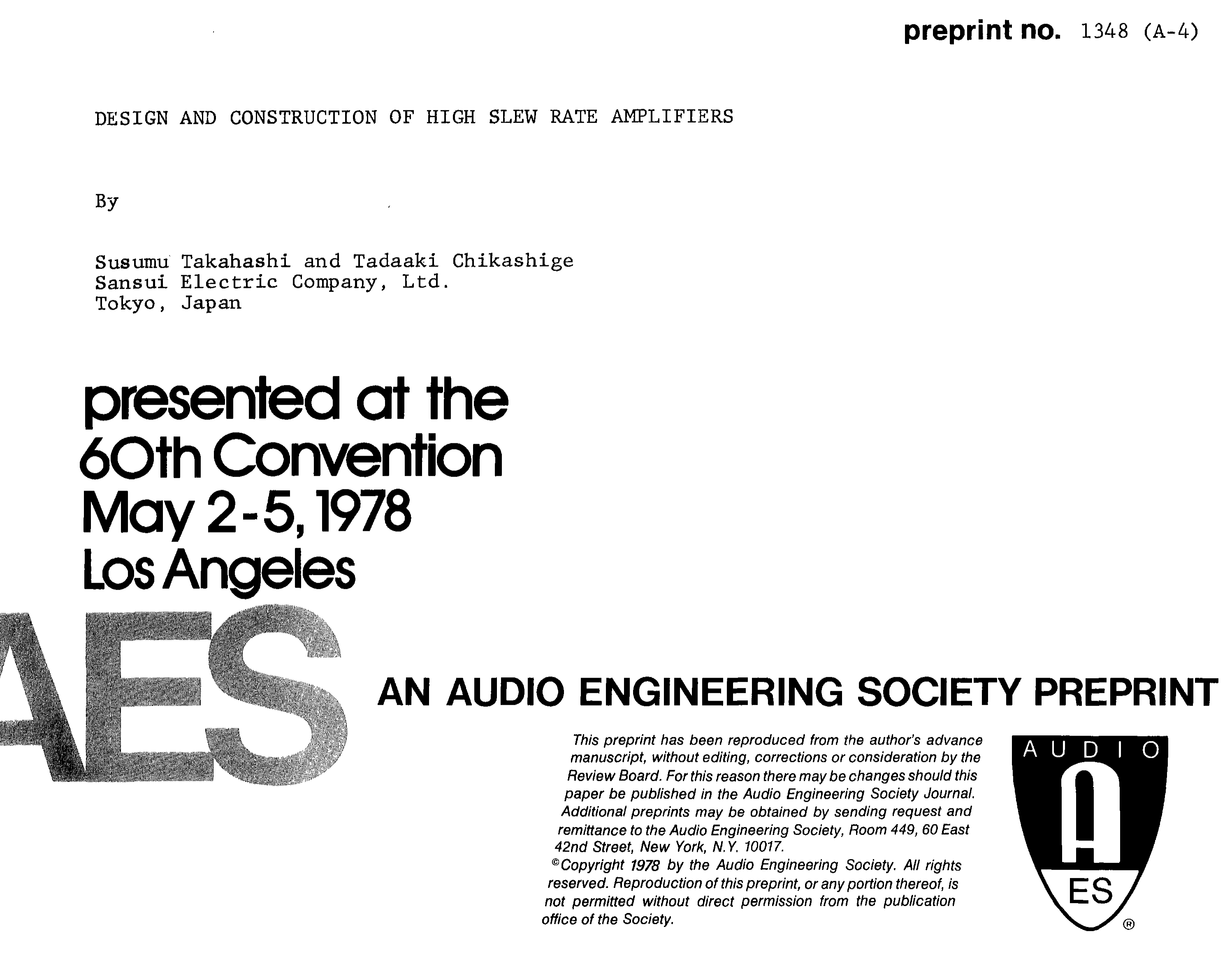 Aes E Library Design And Construction Of High Slew Rate Amplifiers Motorola Hifi Power Amplifier Circuit