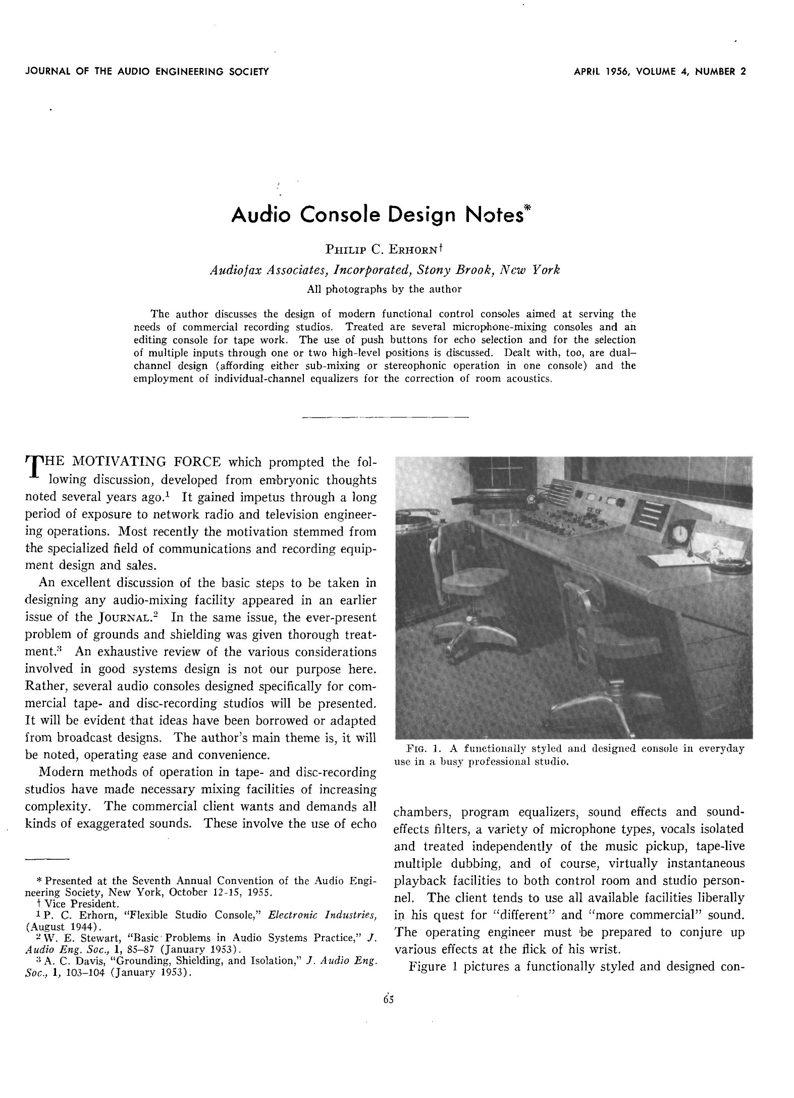 Aes E Library Audio Console Design Notes Signal Meter Circuit Sound Effects Remote Level