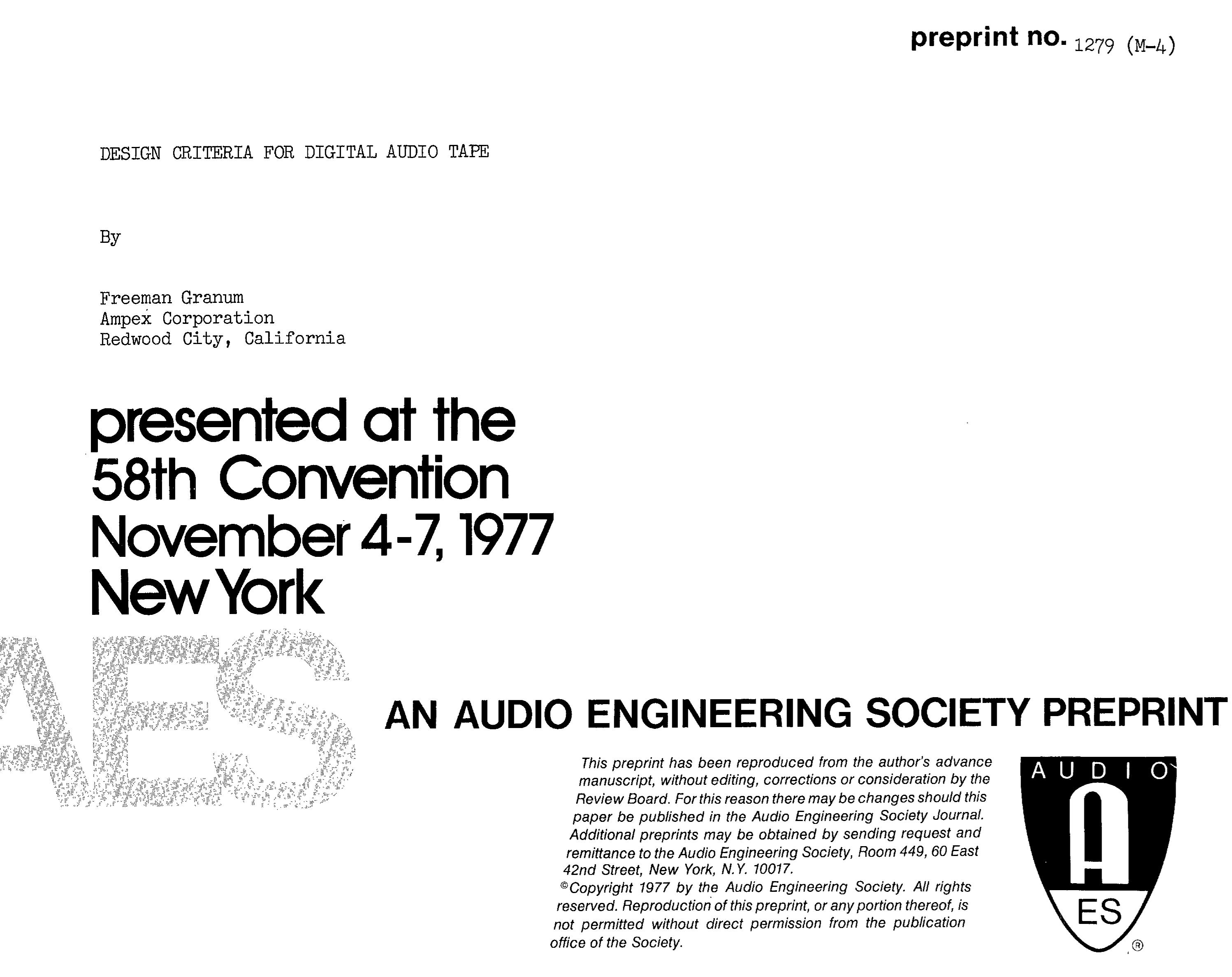 AES E-Library » Design Criteria for Digital Audio Tape