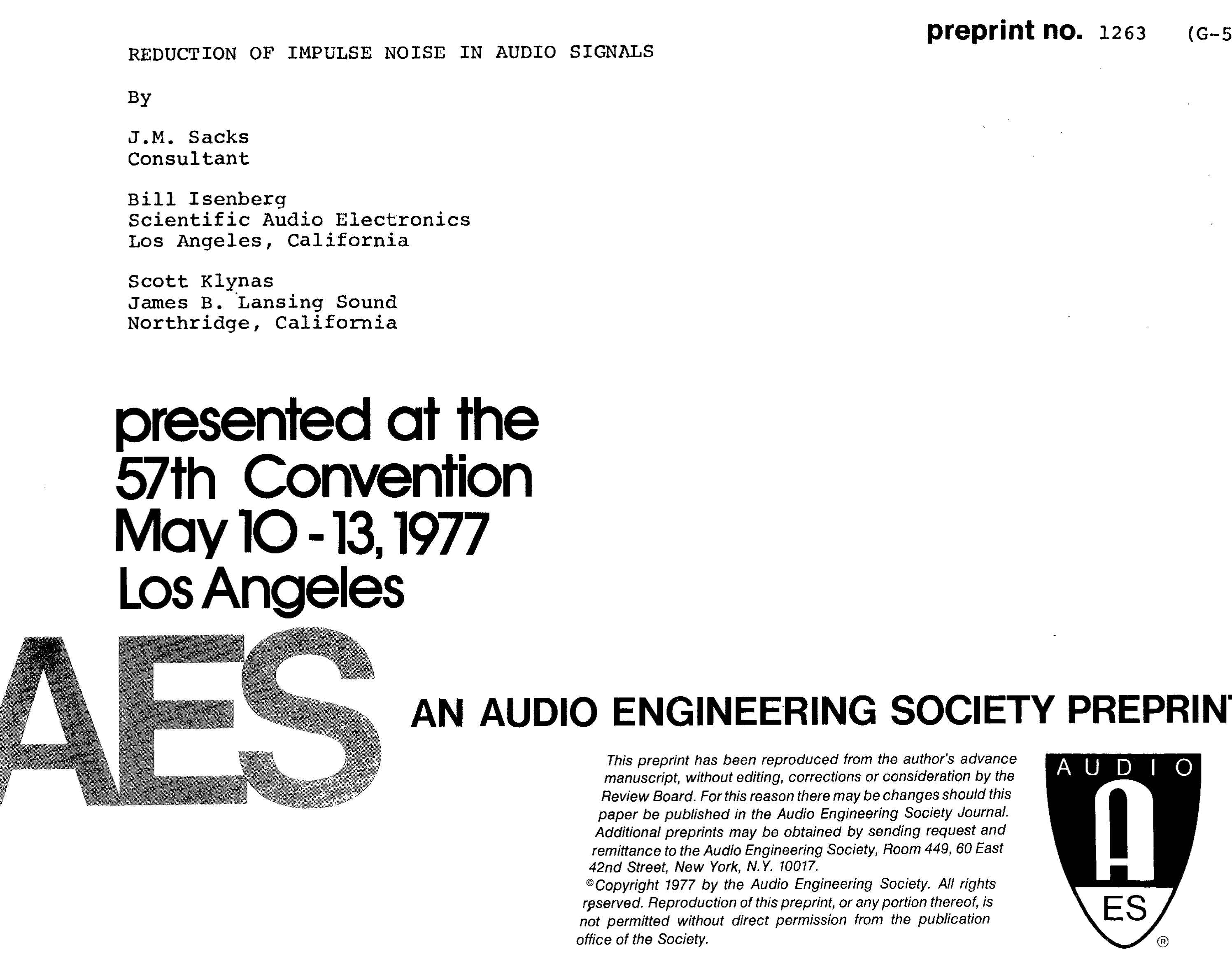Aes E Library Reduction Of Impulse Noise In Audio Signals Filter Circuit