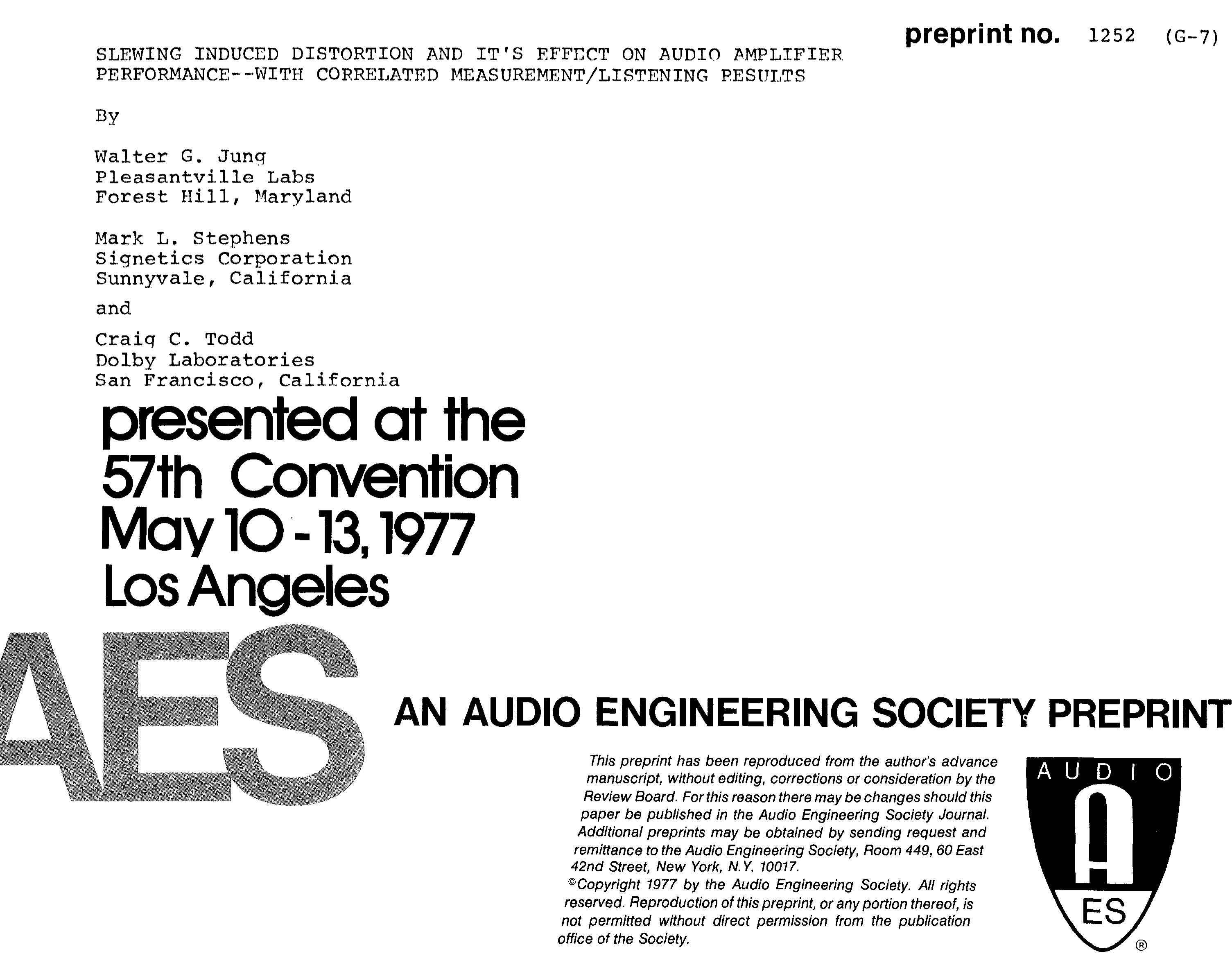 Aes E Library Slewing Induced Distortion And Its Effect On Audio Ne5534 Amplifier Performancewith Correlated Measurement Listening Results