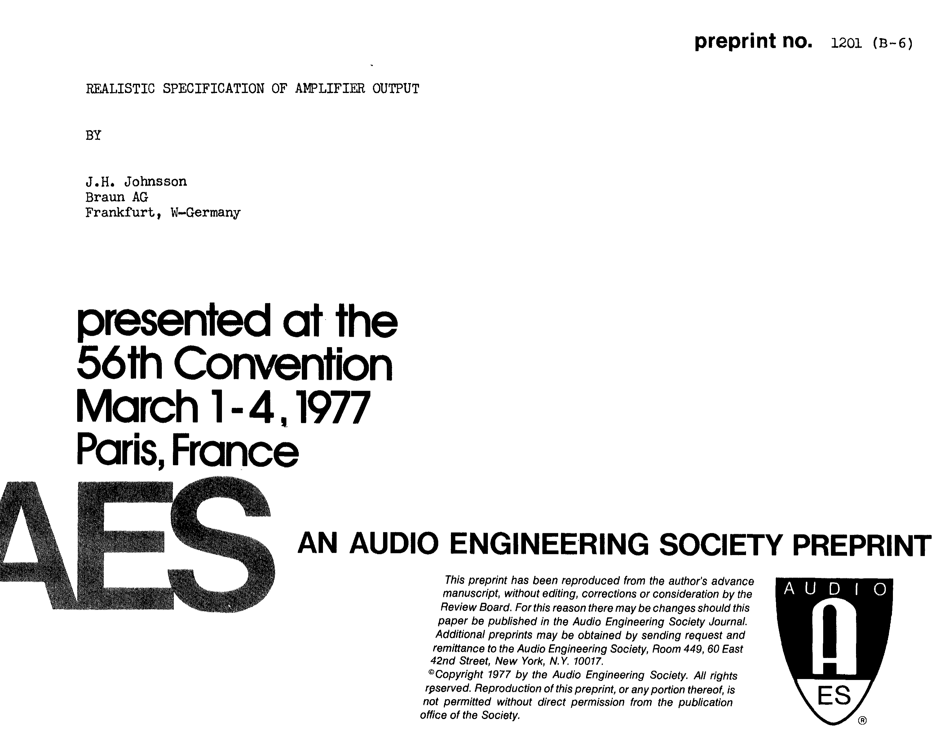 Aes E Library Realistic Specification Of Amplifier Output An Ordinary Dc Power Supply Also Called Unregulated