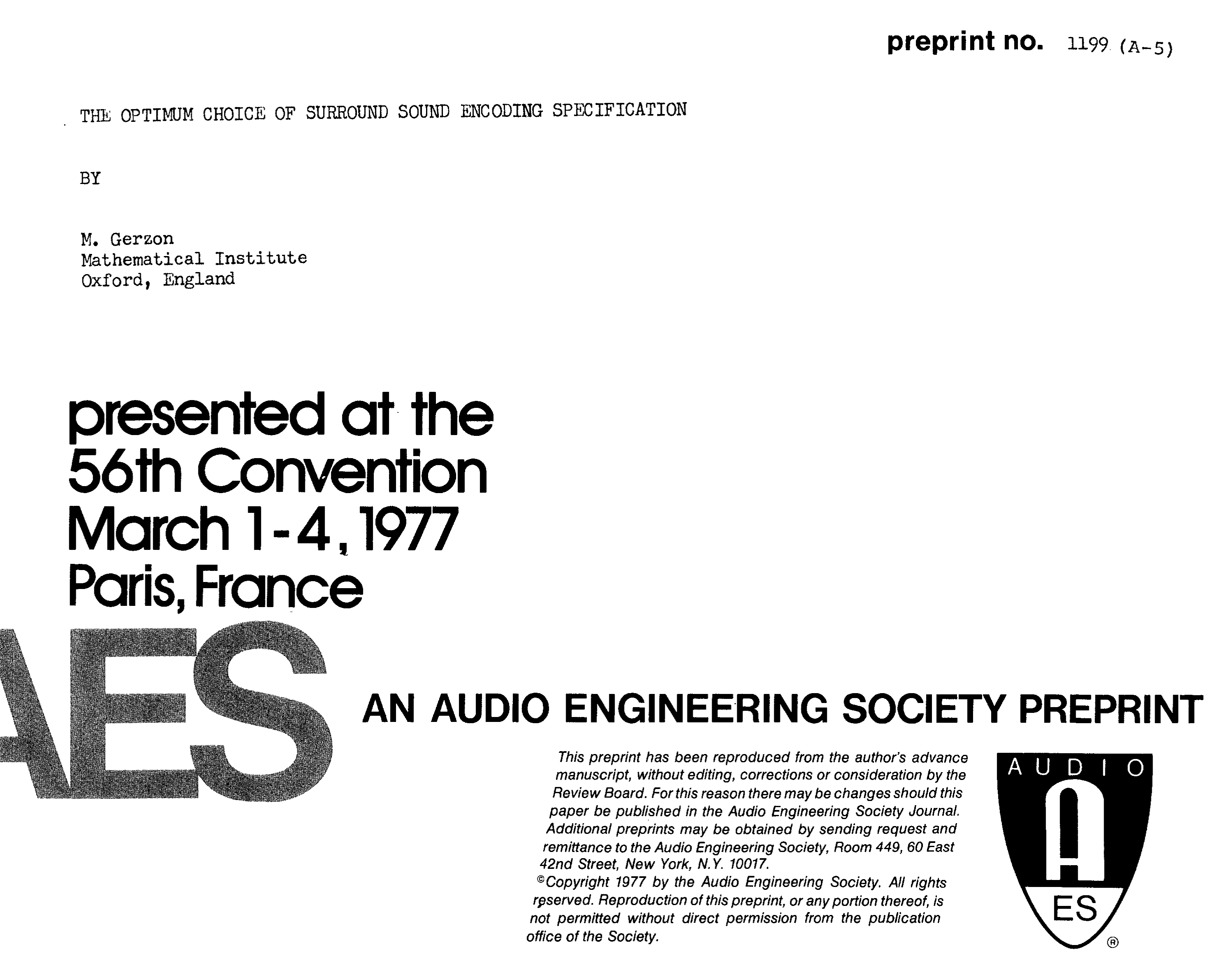 AES E-Library » The Optimum Choice of Surround Sound