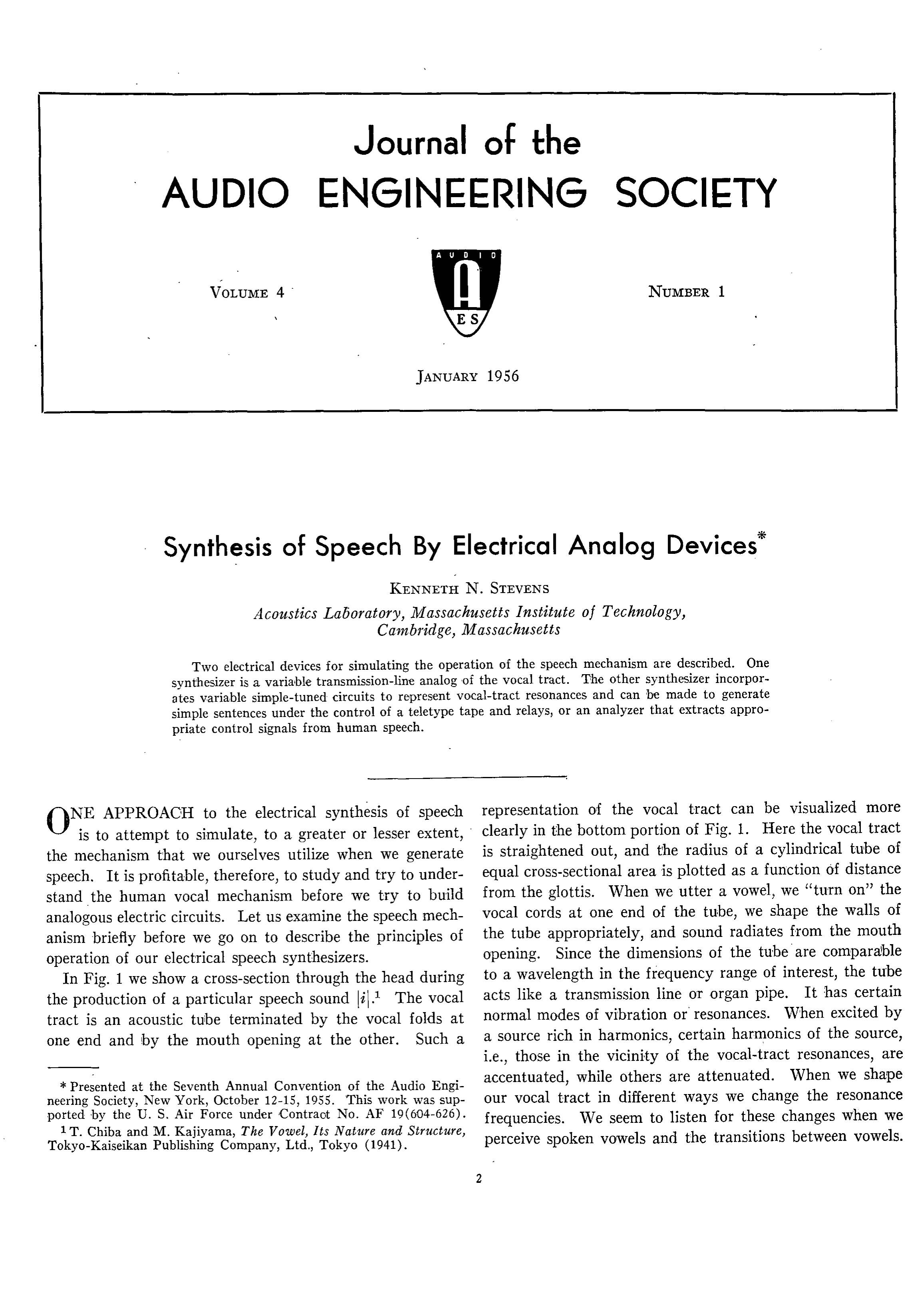 Aes E Library Synthesis Of Speech By Electrical Analog Devices Simple Audio Circuit