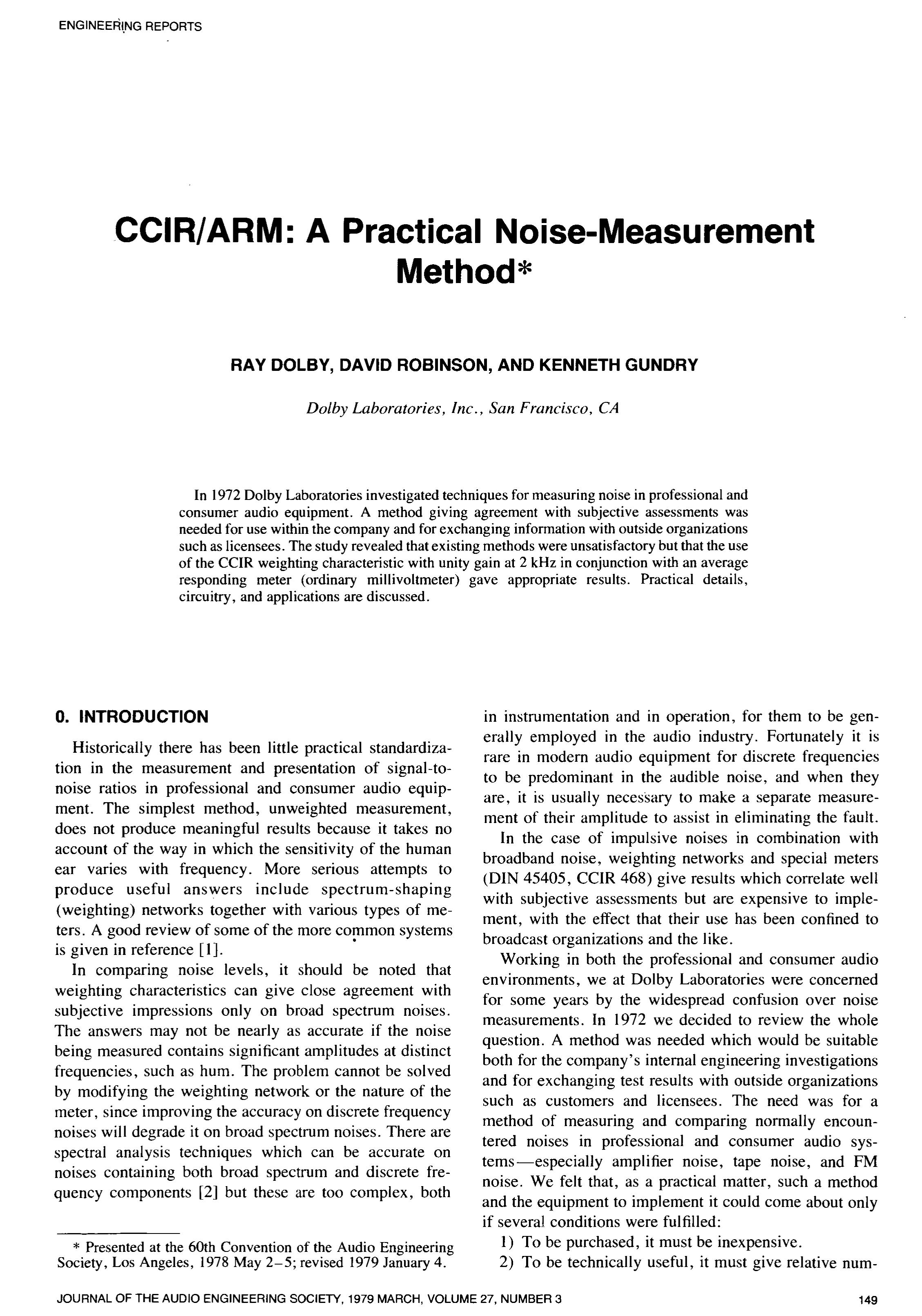 Aes E Library Ccir Arm A Practical Noise Measurement Method Precision Audio Millivoltmeter Circuit