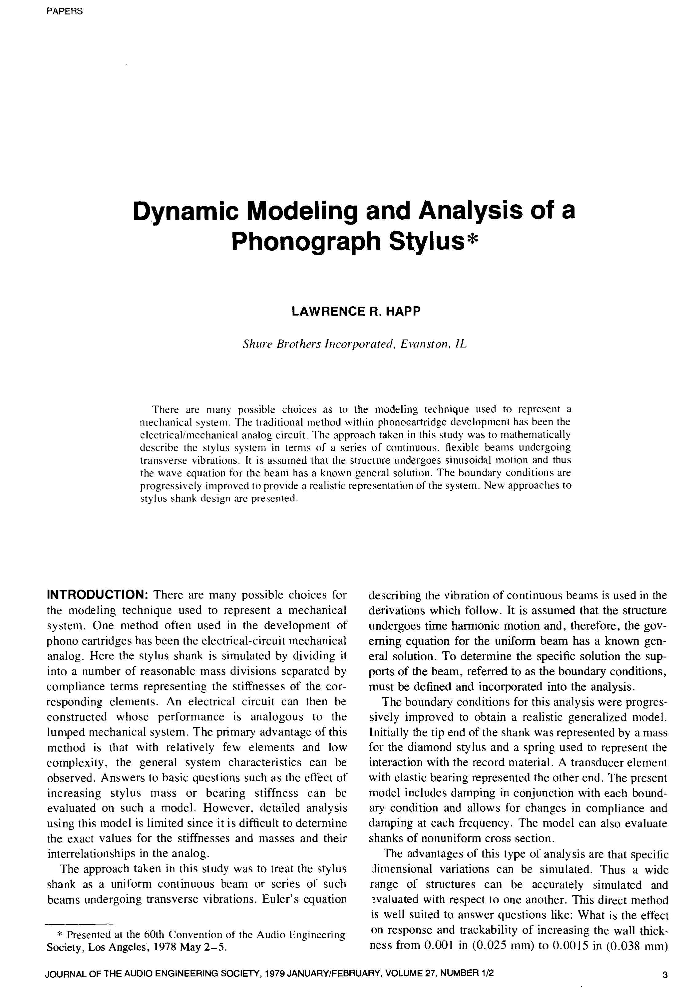 Aes E Library Dynamic Modeling And Analysis Of A Phonograph Stylus Explore Nes Circuit Bend More Audio