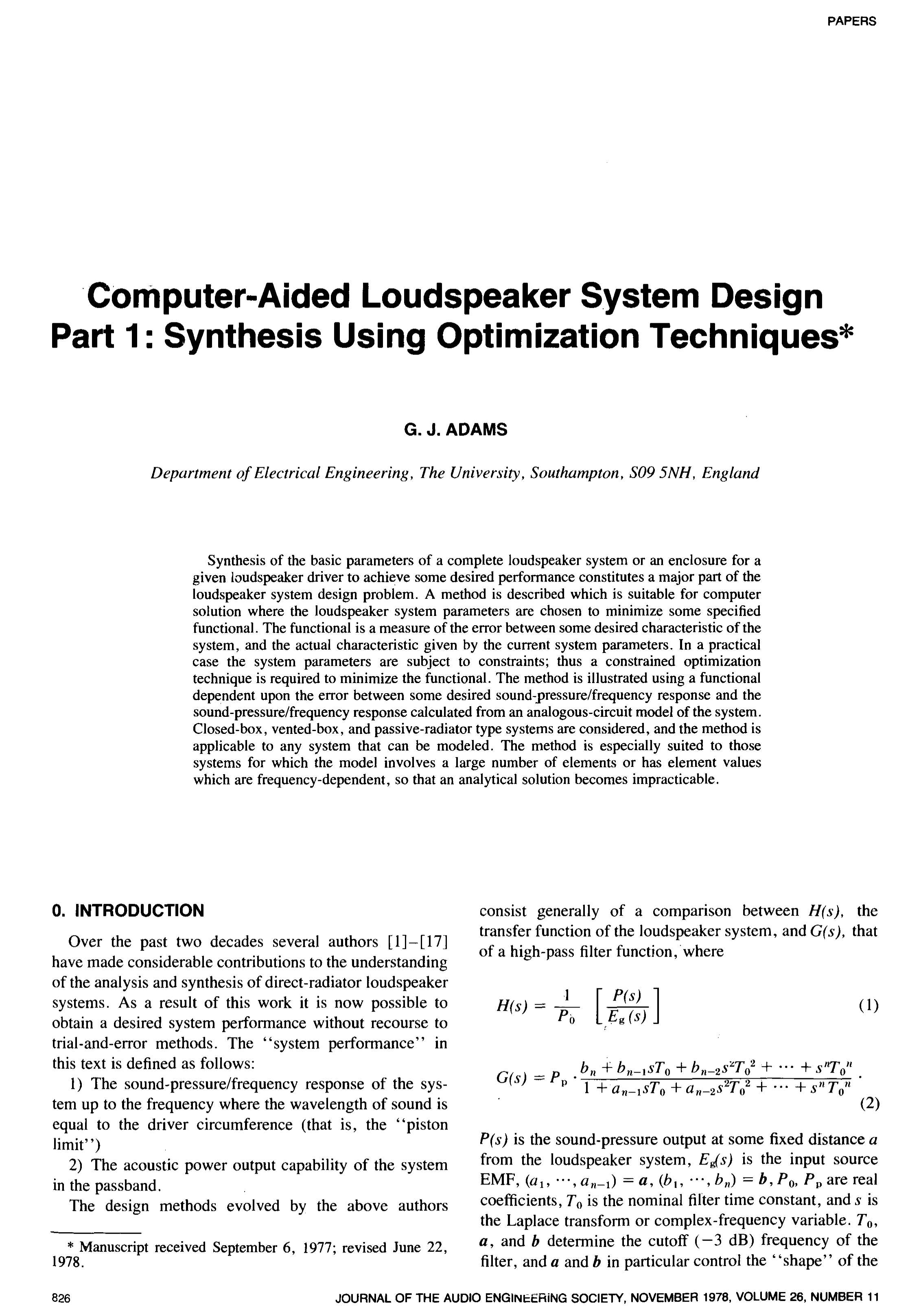 Aes E Library Computer Aided Loudspeaker System Design Part 1 Synthetic Inductor Based High Pass Audio Filter Circuit Synthesis Using Optimization Techniques