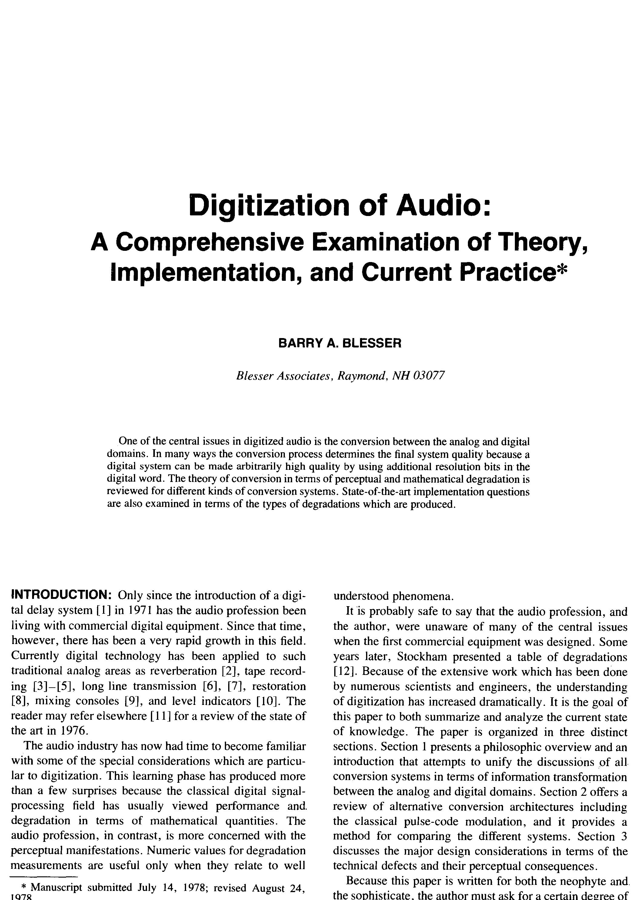 aes e library digitization of audio a comprehensive examination