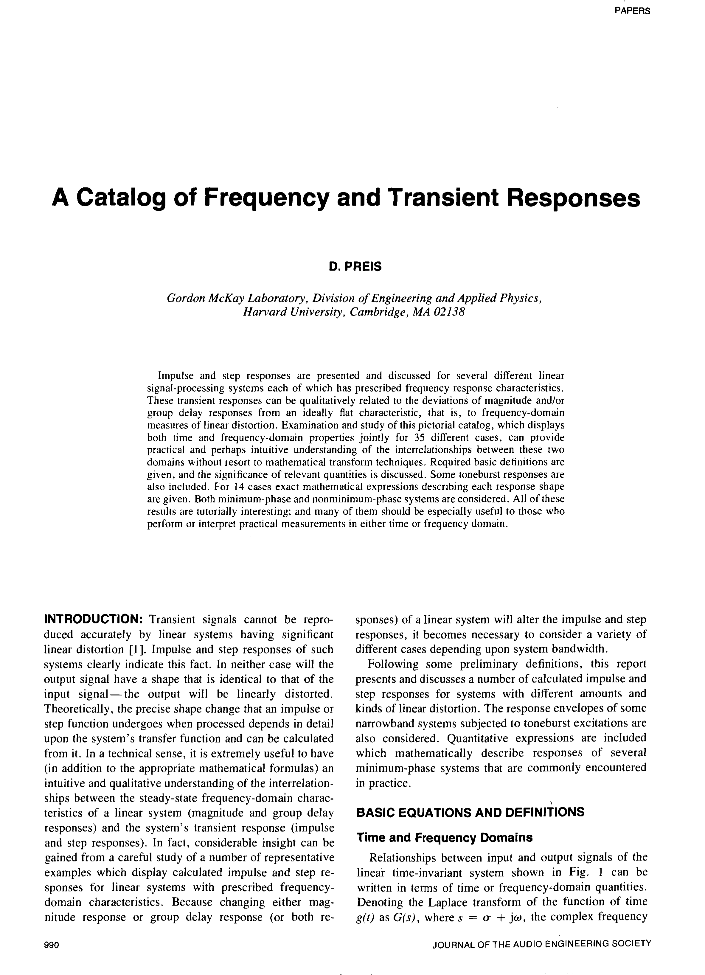 Aes E Library A Catalog Of Frequency And Transient Responses