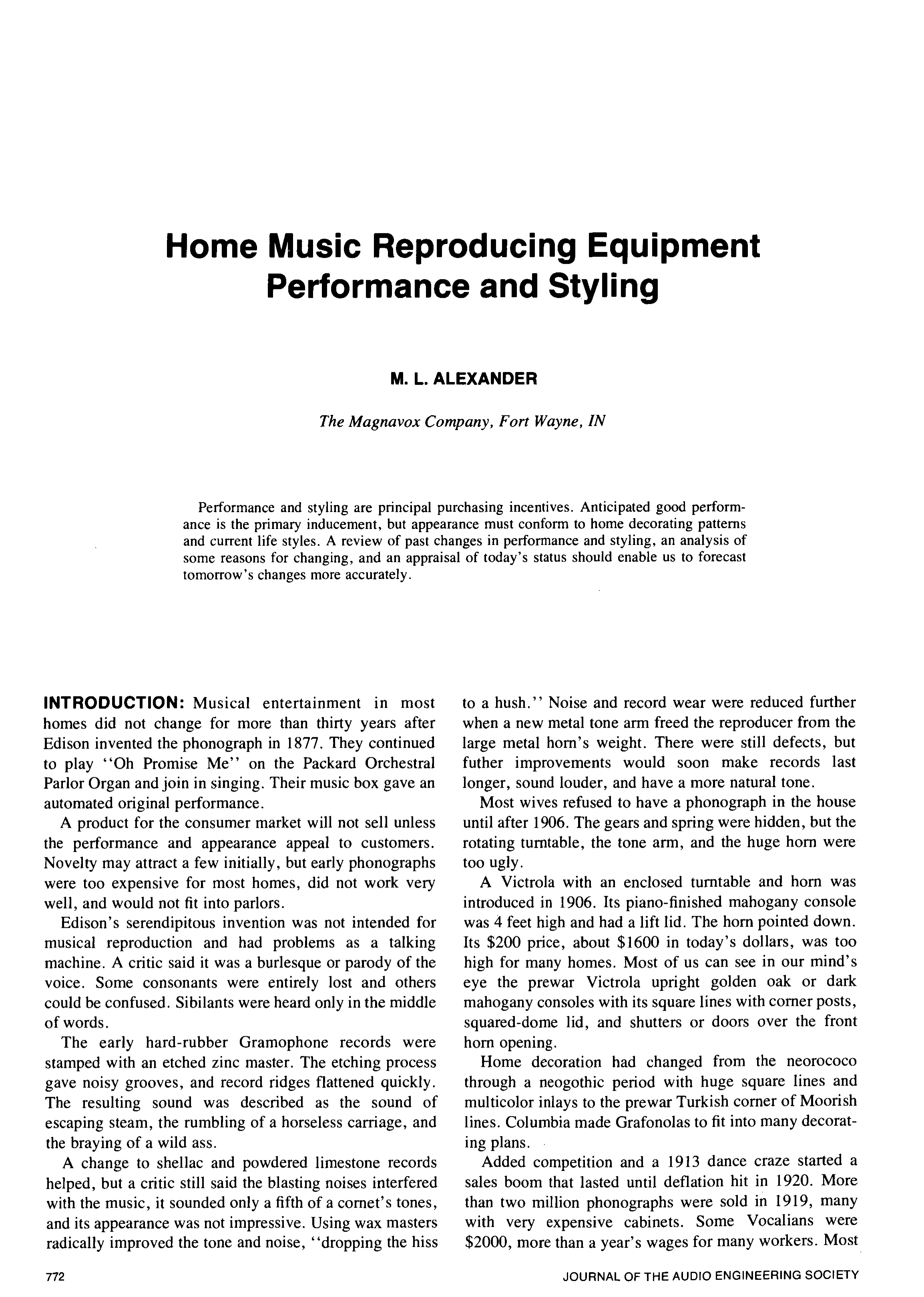 AES E-Library » Home Music Reproducing Equipment-Performance
