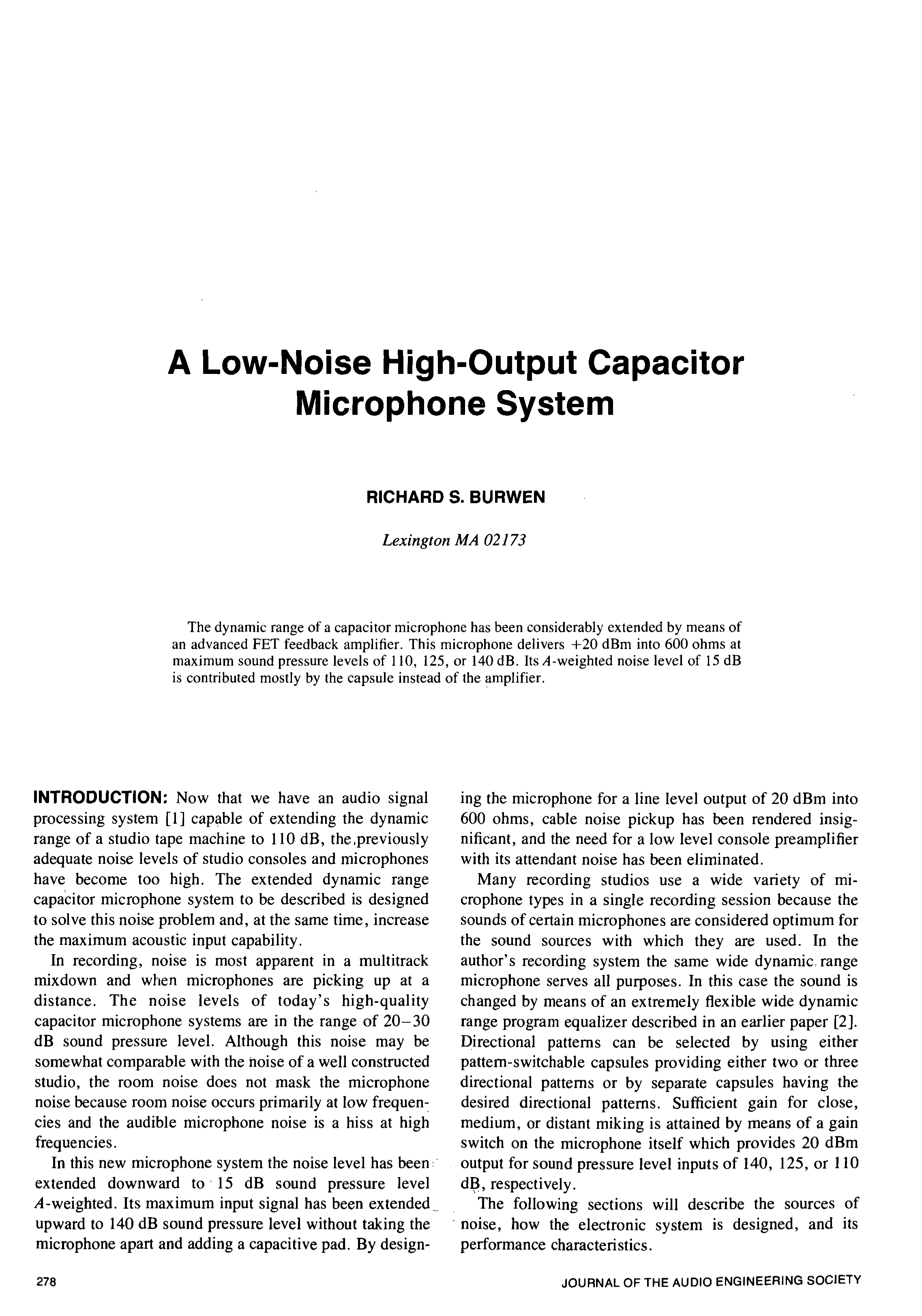 Aes E Library A Low Noise High Output Capacitor Microphone System Dynamic Amplifier Using Transistors